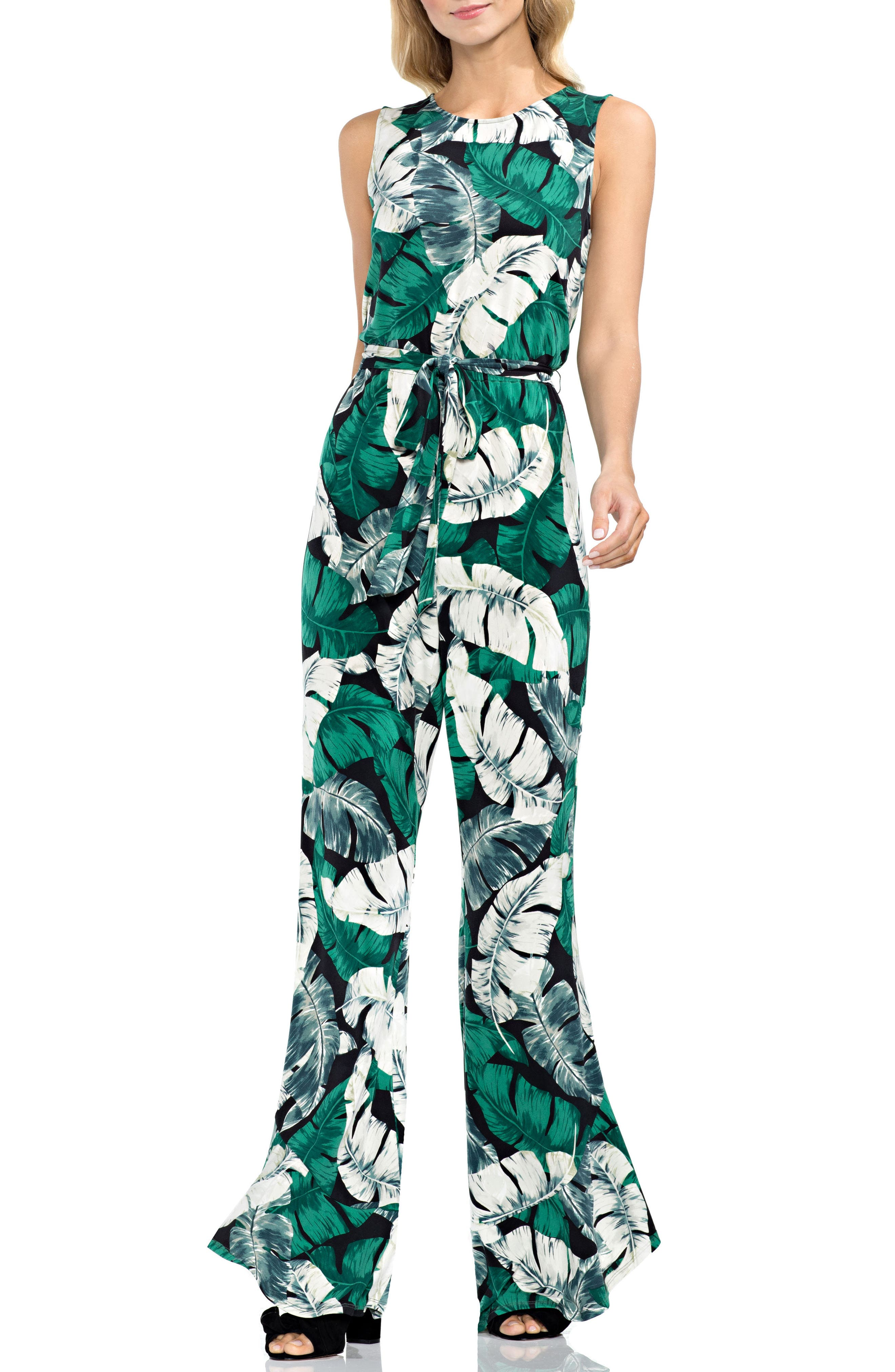 Vince Camuto Jungle Palm Print Jumpsuit