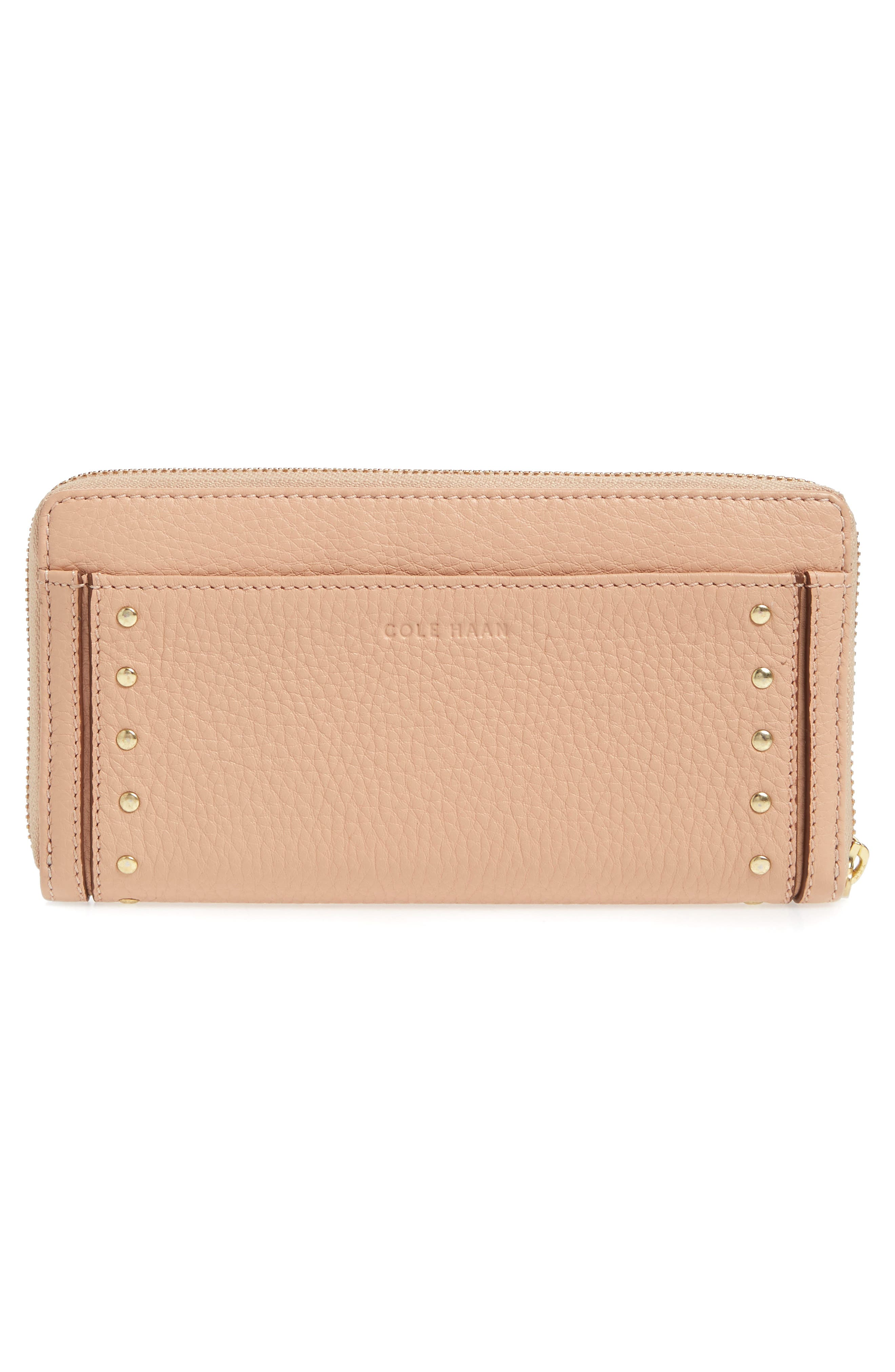 Cassidy Leather RFID Continental Zip Wallet,                             Alternate thumbnail 4, color,                             Nude