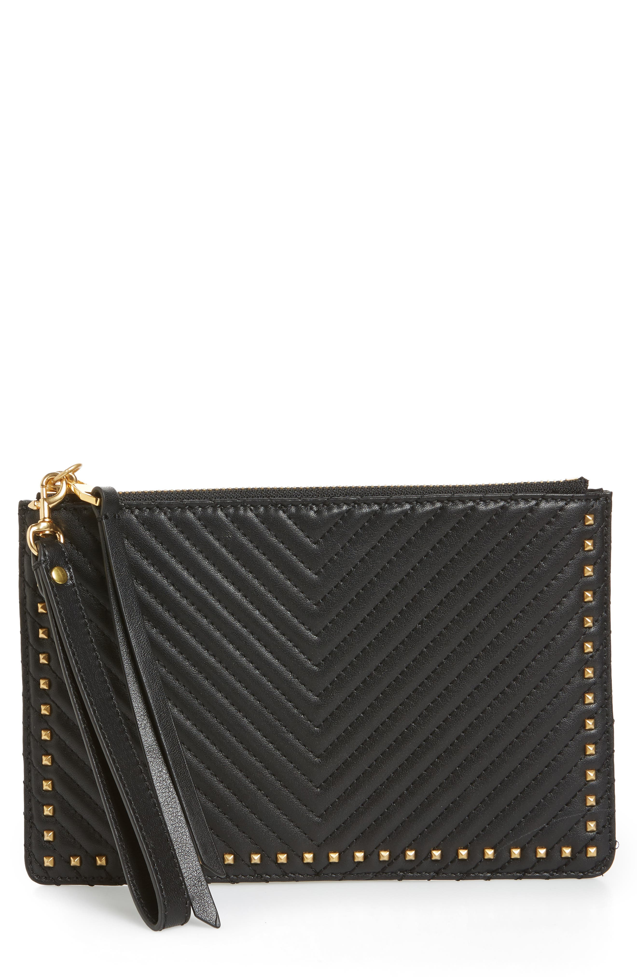 Quilted Leather Wristlet Pouch,                             Main thumbnail 1, color,                             Black