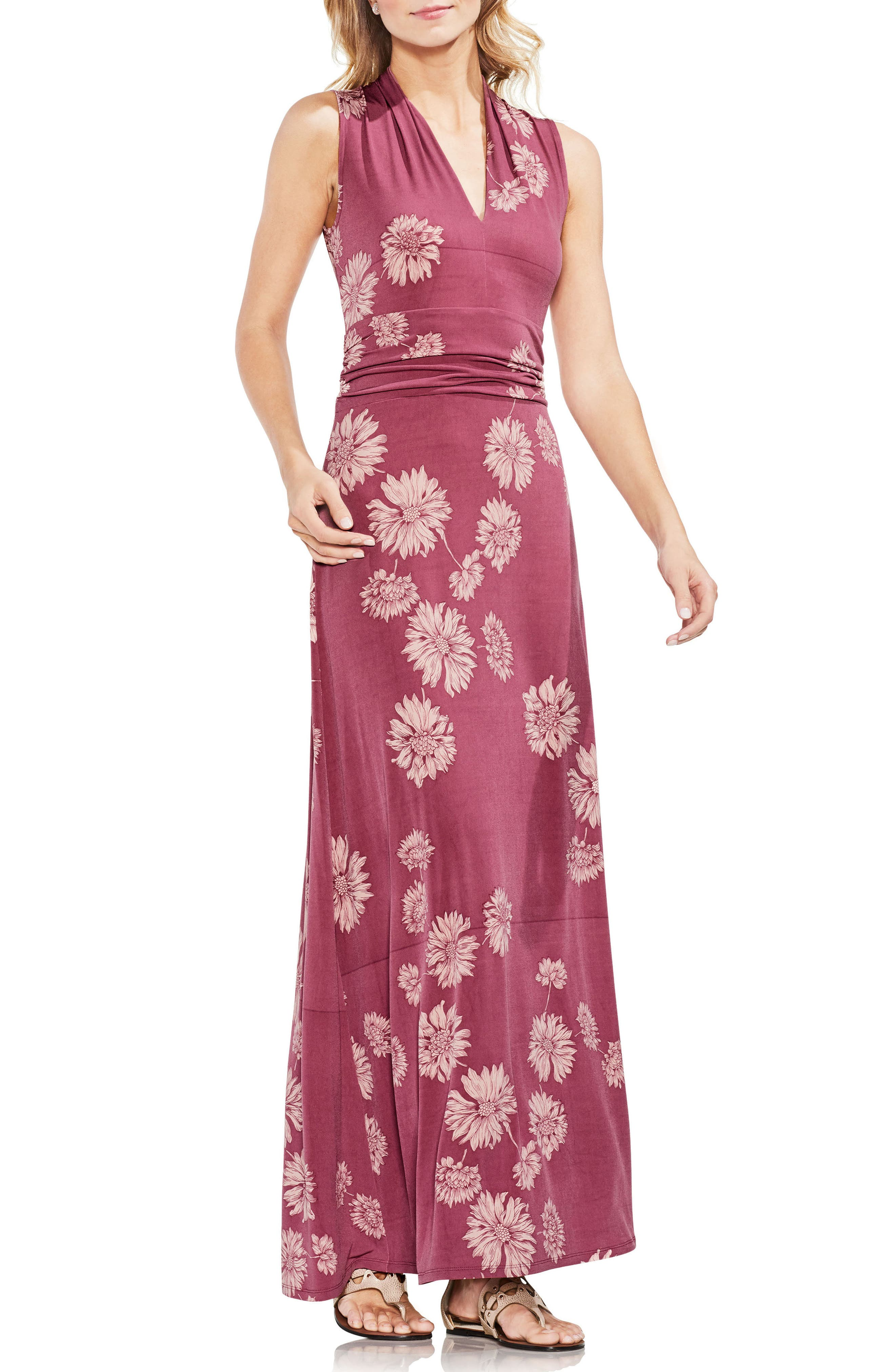 Chateau Floral Halter Maxi Dress,                         Main,                         color, Summer Rose