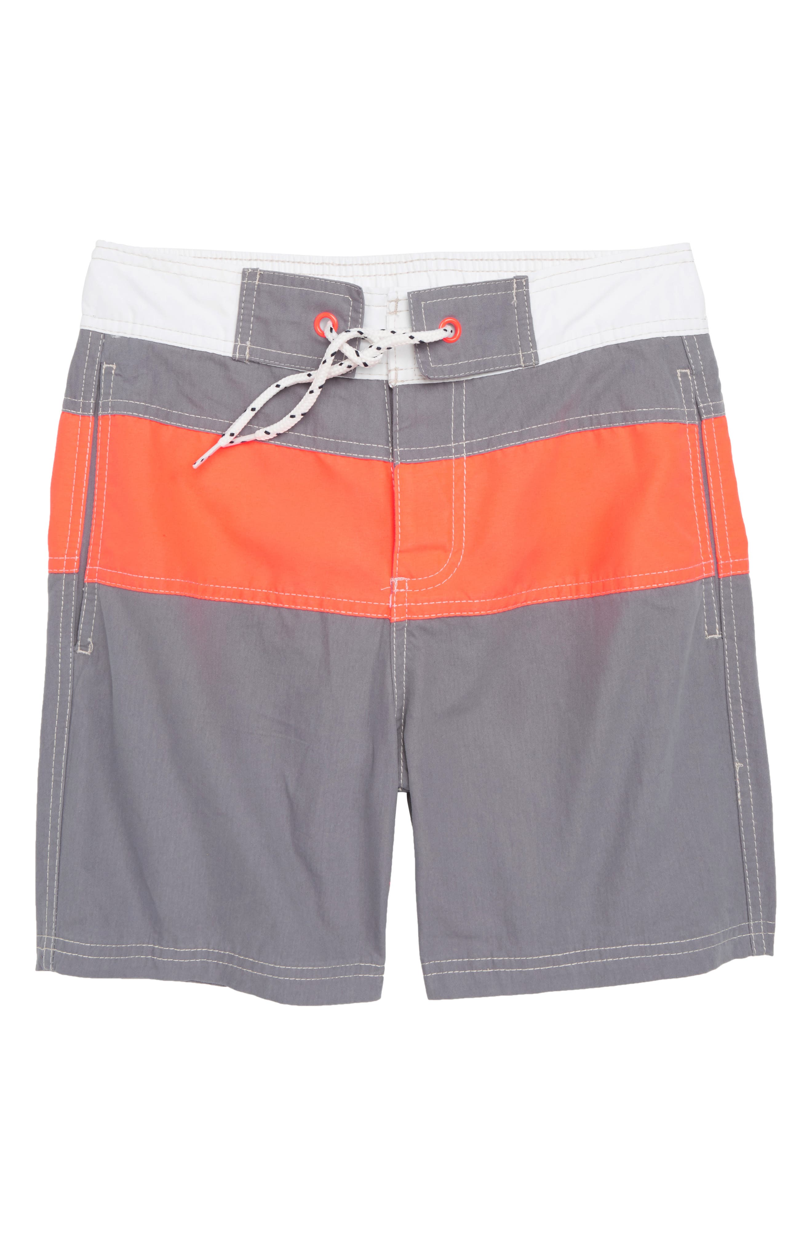 Poolside Swim Trunks,                         Main,                         color, Raft Grey/ Fiery Coral Red
