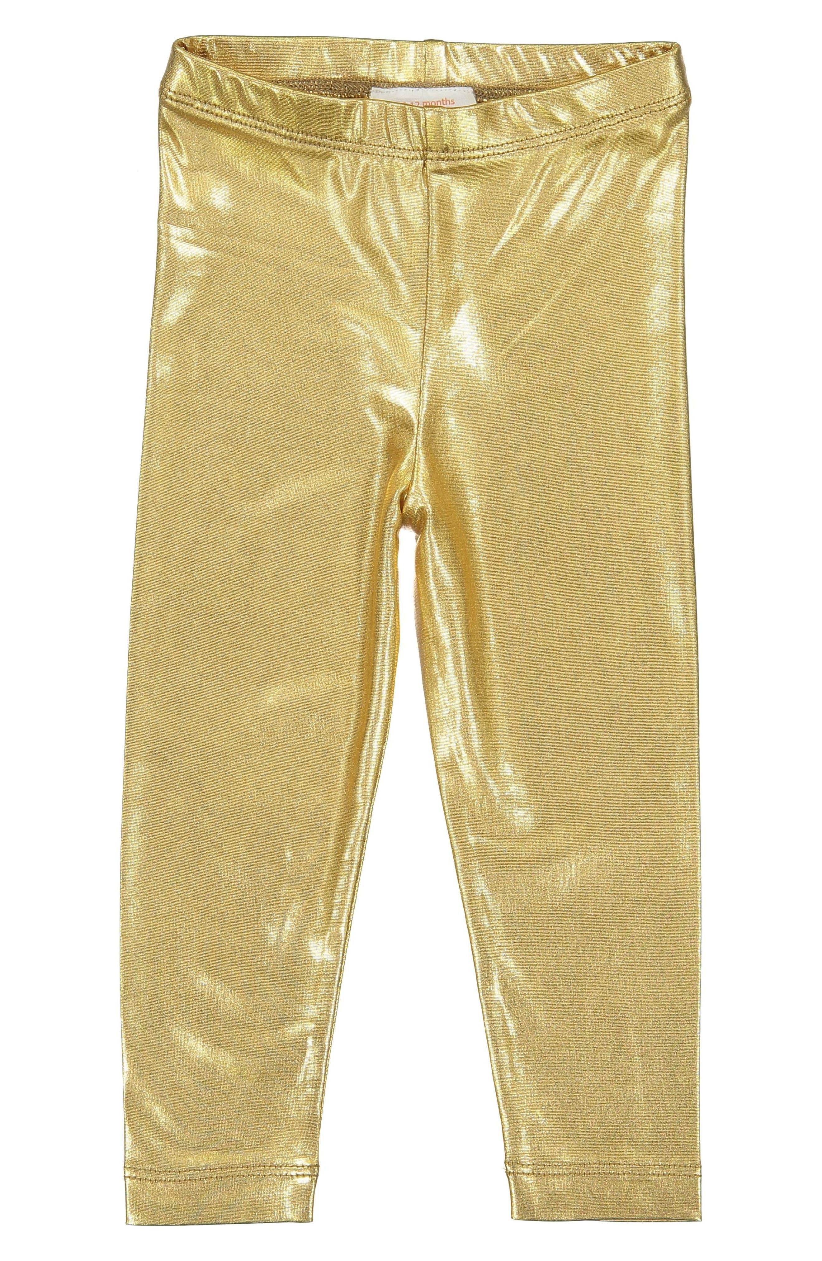 Metallic Leggings,                         Main,                         color, Gold