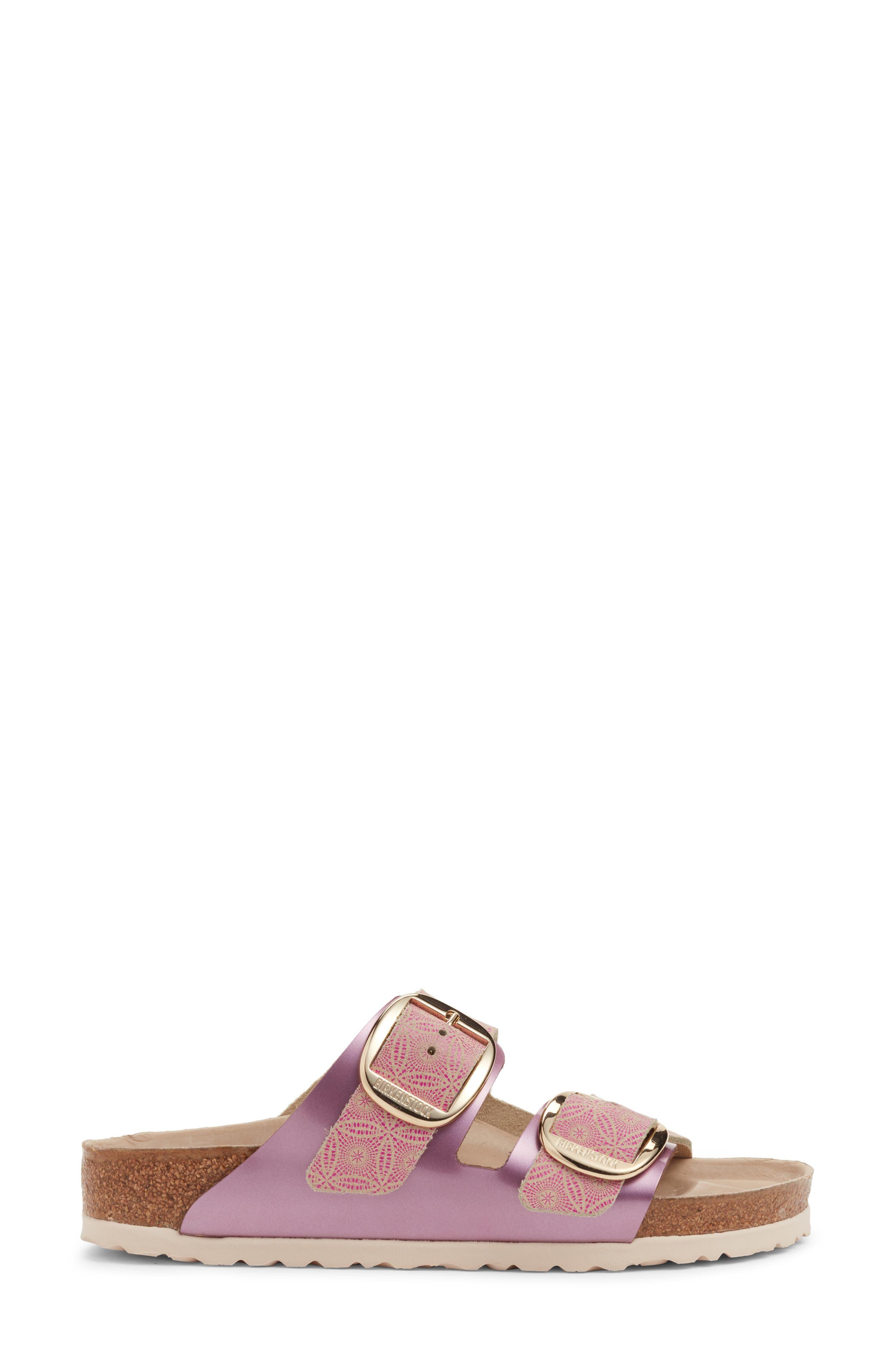 Arizona Big Buckle Slide Sandal,                             Alternate thumbnail 3, color,                             Ceramic Rose Leather