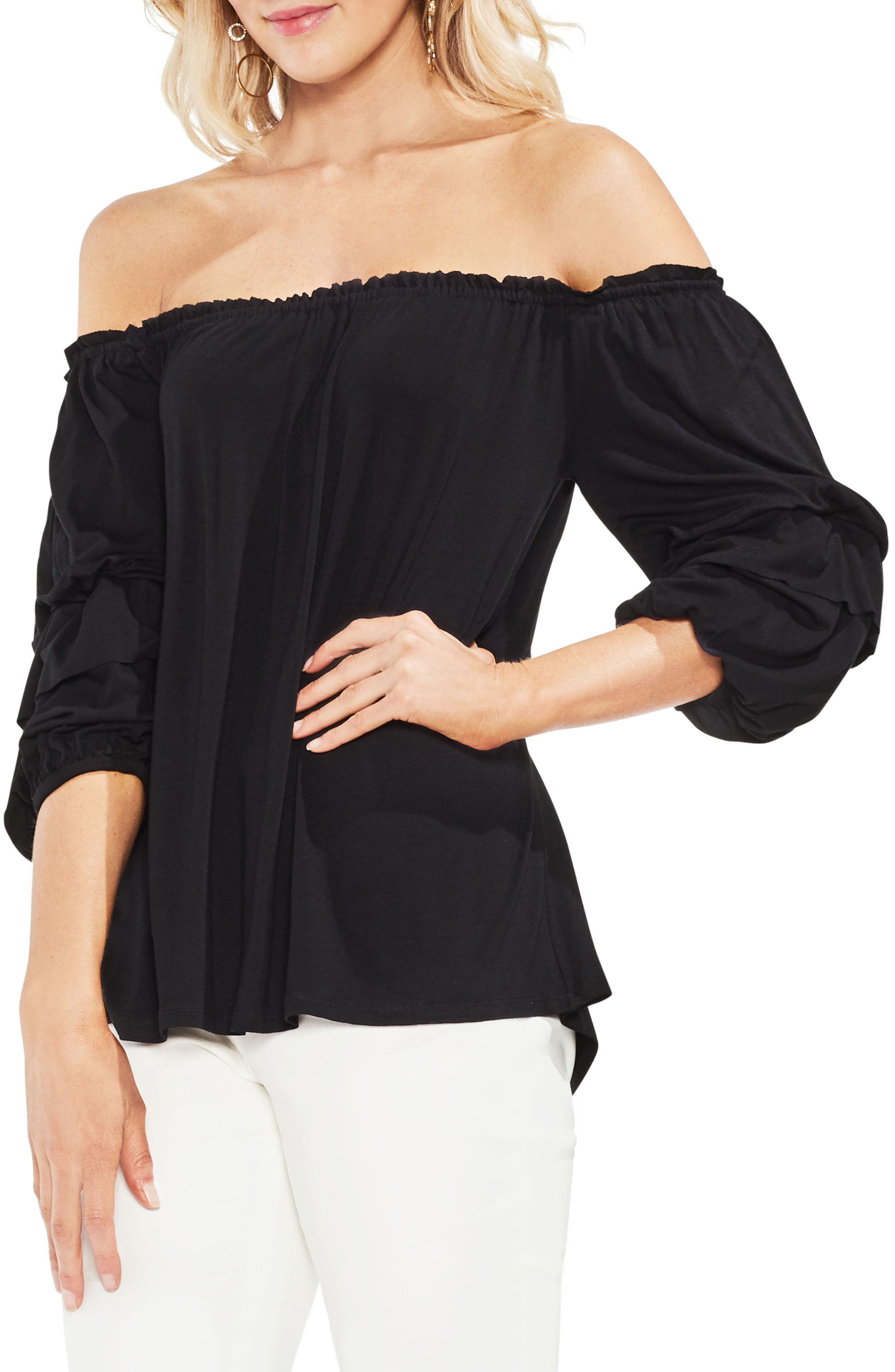 Off The Shoulder Tiered Top,                         Main,                         color, Rich Black