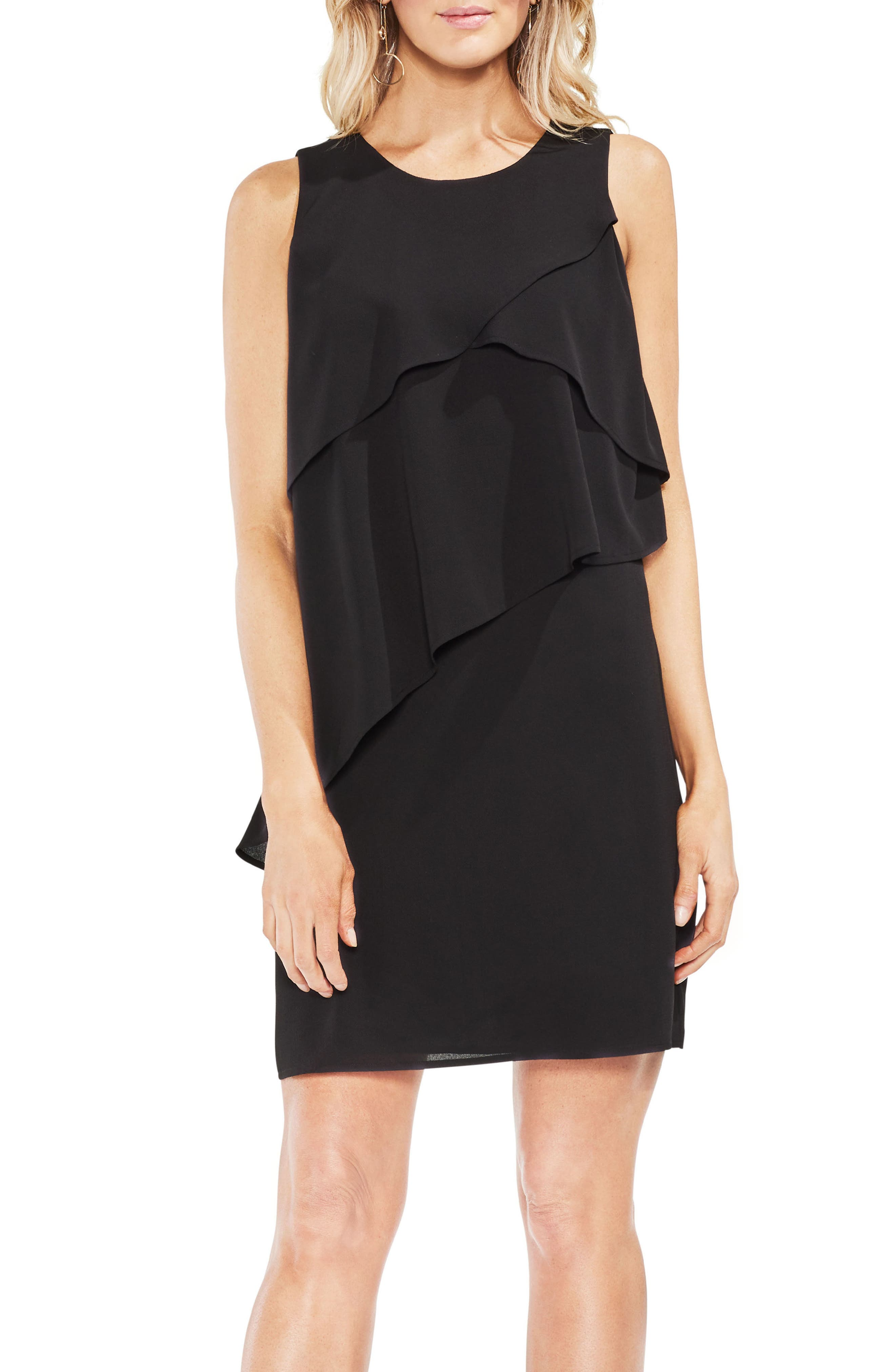 Asymmetrical Tiered Shift Dress,                         Main,                         color, 060-Rich Black