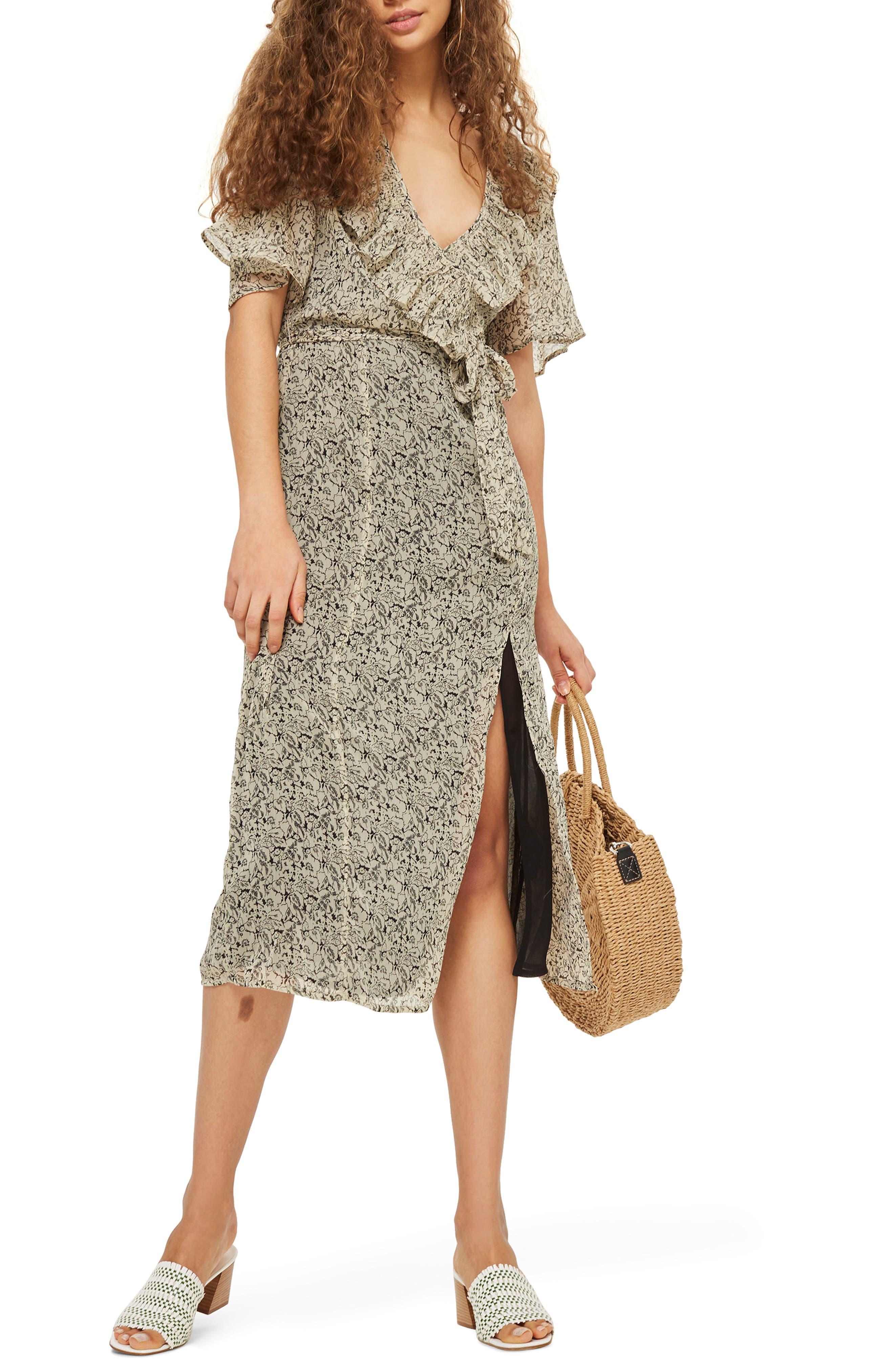 Floral Angel Sleeve Dress,                         Main,                         color, Beige Multi