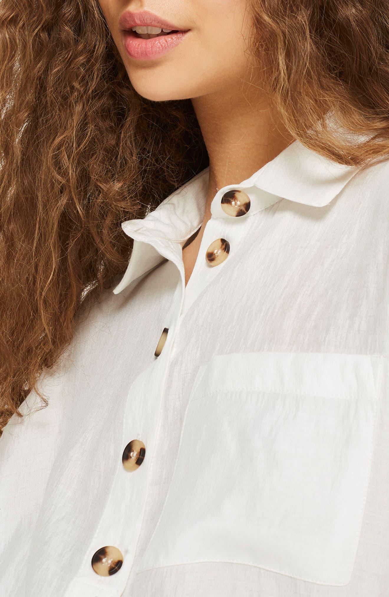 Lightweight Button Shirt,                             Alternate thumbnail 3, color,                             Ivory