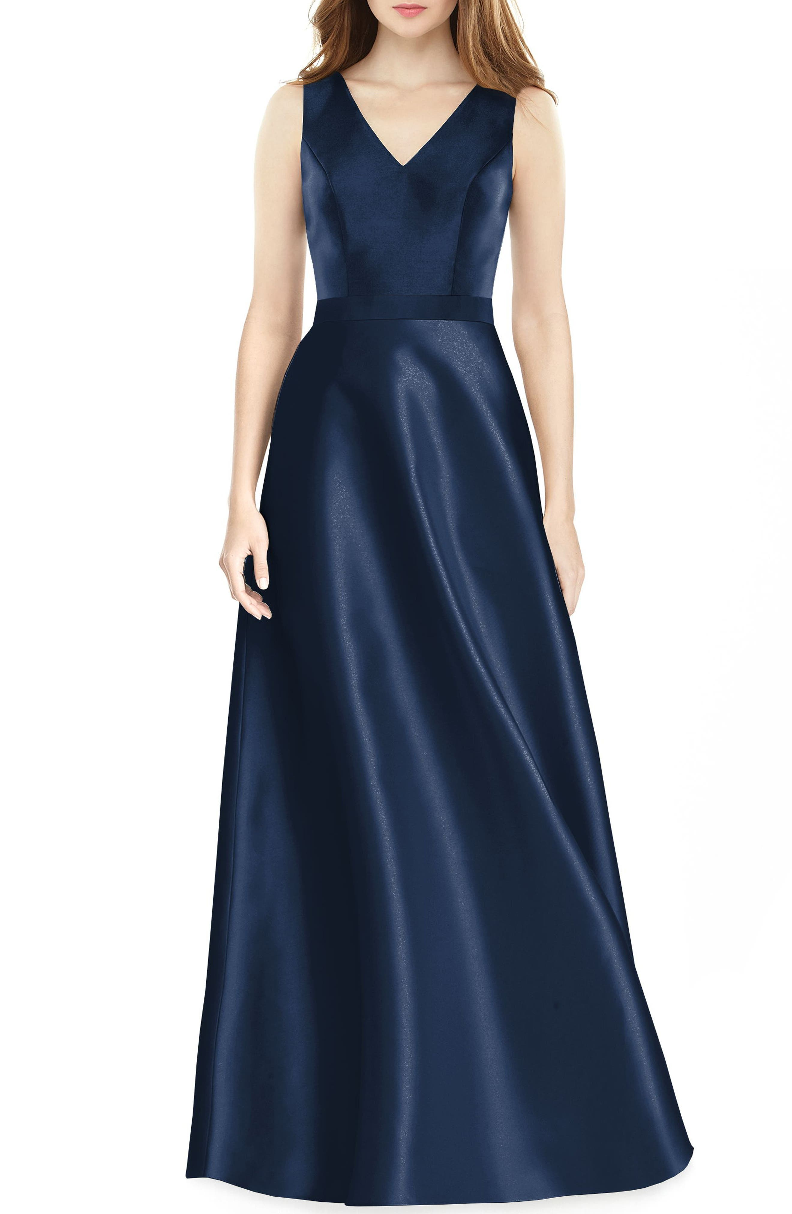 Sleeveless Sateen Gown,                         Main,                         color, Midnight