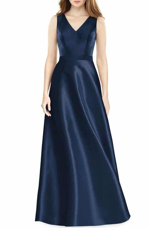 be10721e47ba2 Alfred Sung Sleeveless Sateen Gown