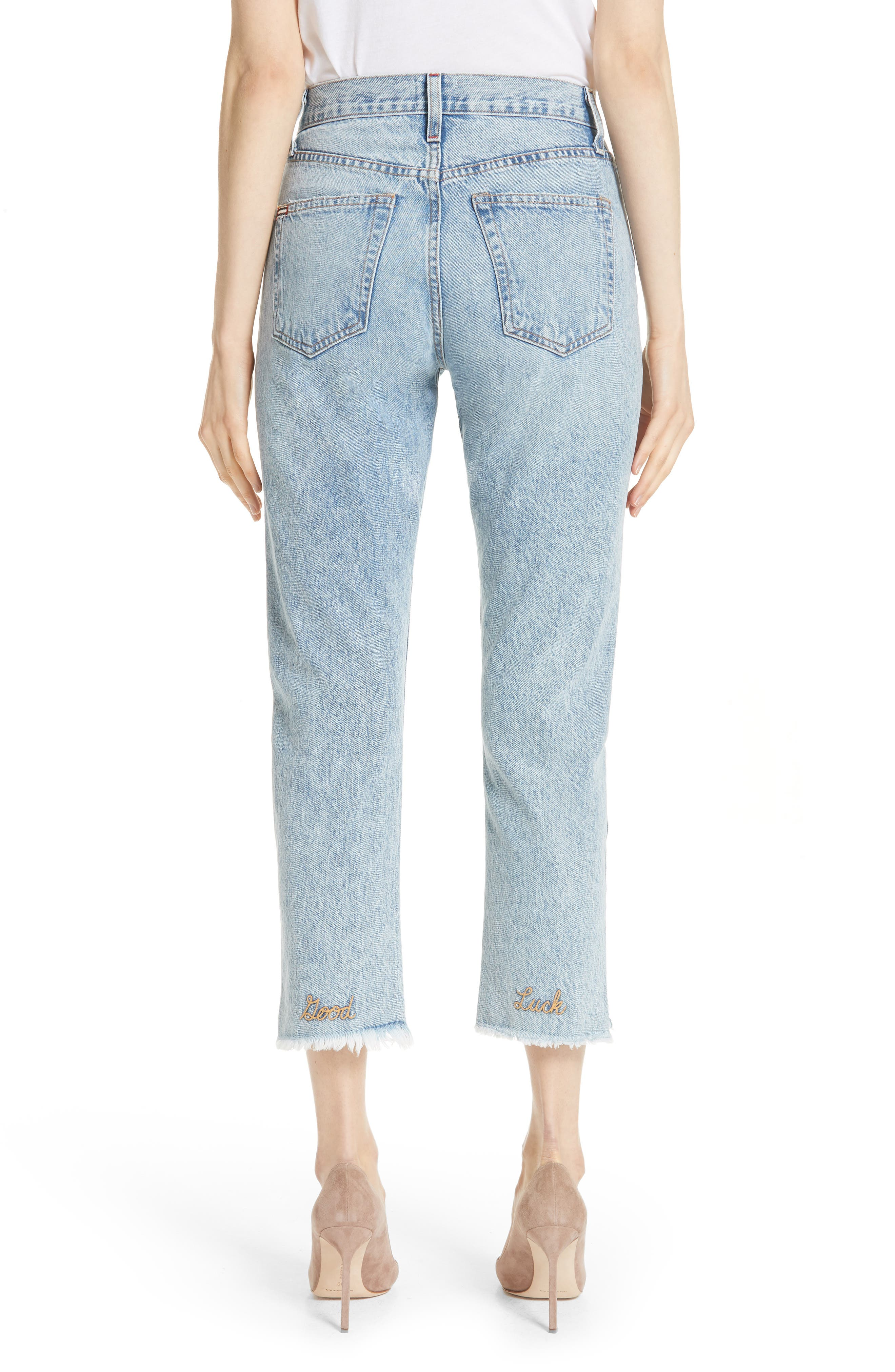 AO.LA Amazing Good Luck Slim Girlfriend Jeans,                             Alternate thumbnail 2, color,                             Out Of Sight/ Gold