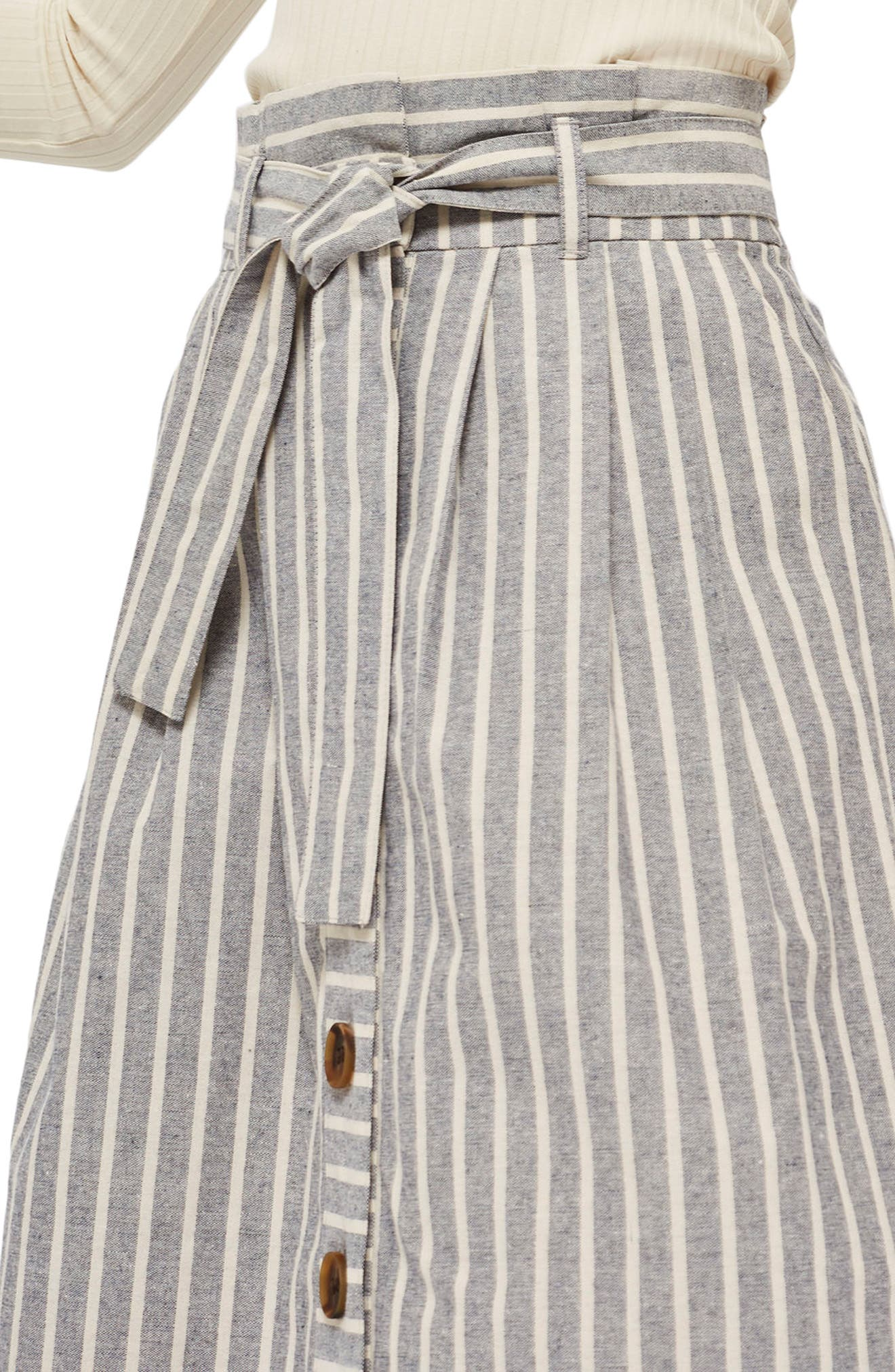 Stripe Tie Waist Midi Skirt,                             Alternate thumbnail 3, color,                             Grey Multi