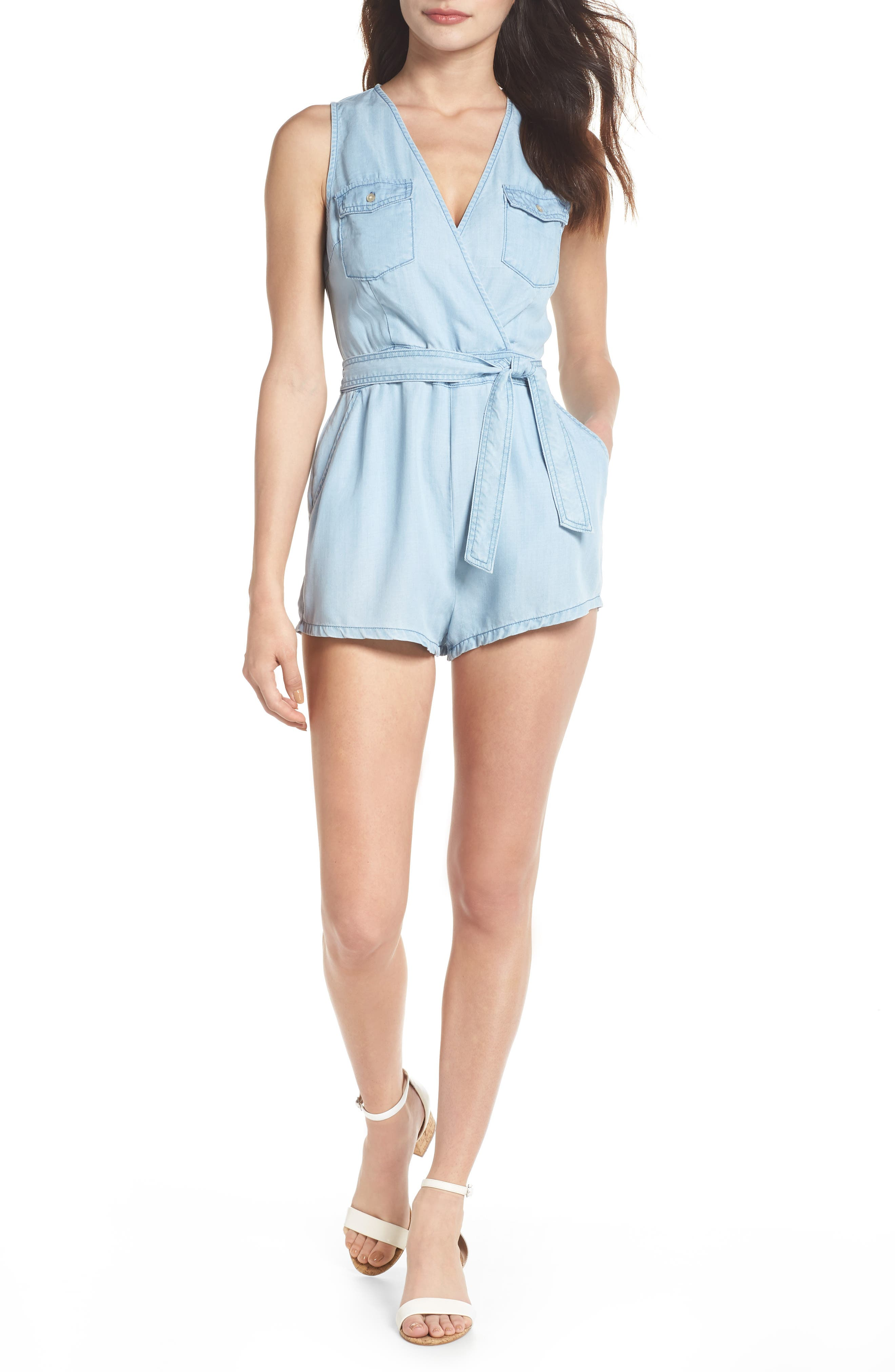 Chambray Romper,                         Main,                         color, Chambray