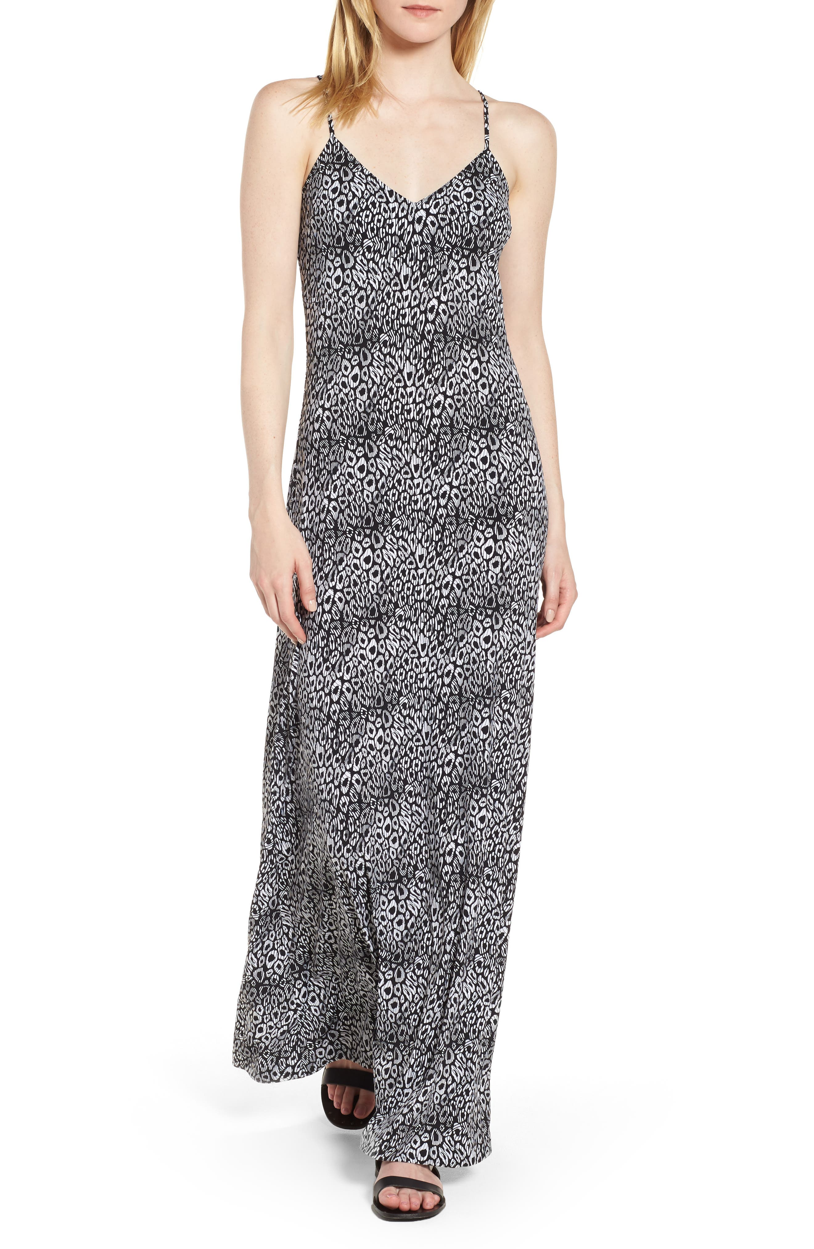 Wavy Leopard Print Tank Maxi Dress,                             Main thumbnail 1, color,                             Black/ White