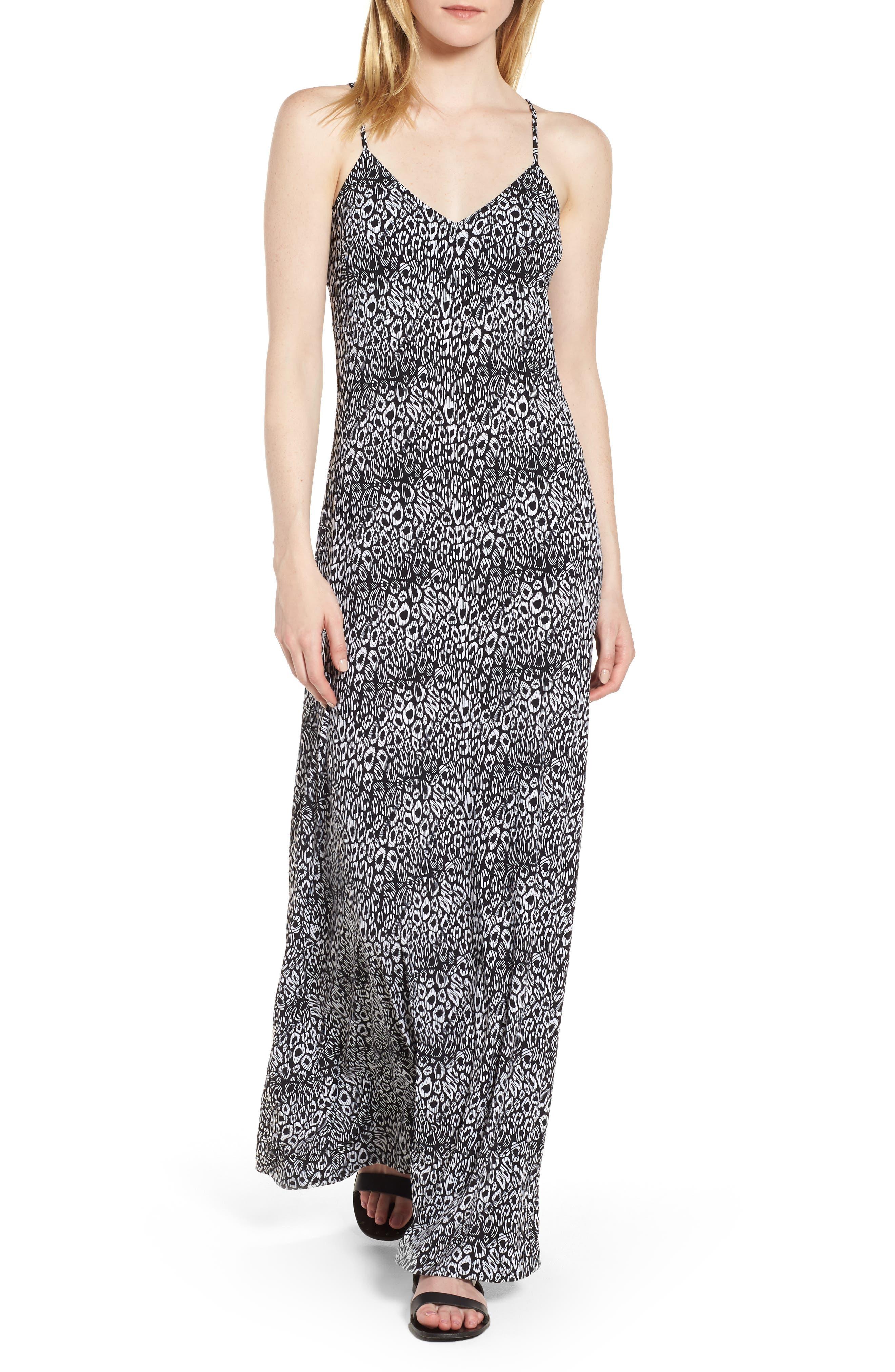 Wavy Leopard Print Tank Maxi Dress,                         Main,                         color, Black/ White