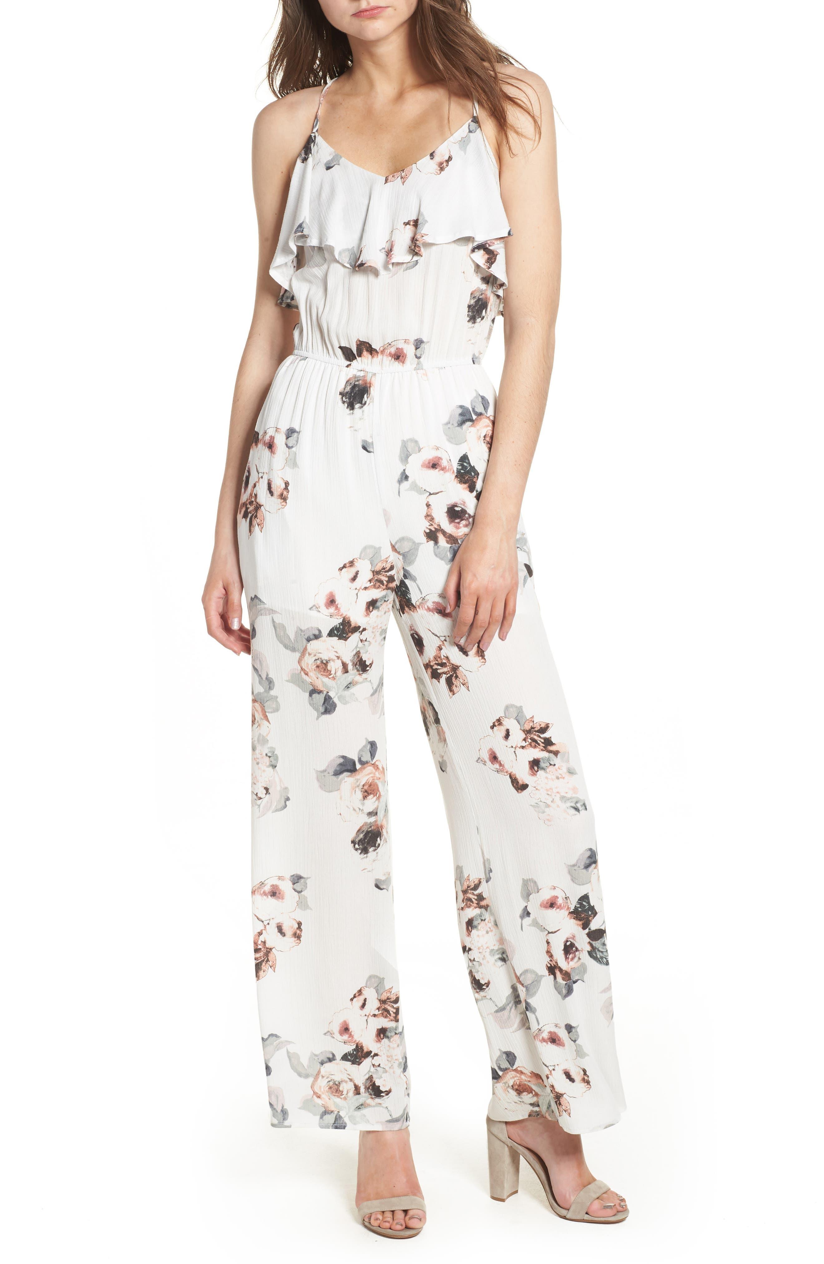Floral Print Jumpsuit,                             Main thumbnail 1, color,                             White Floral