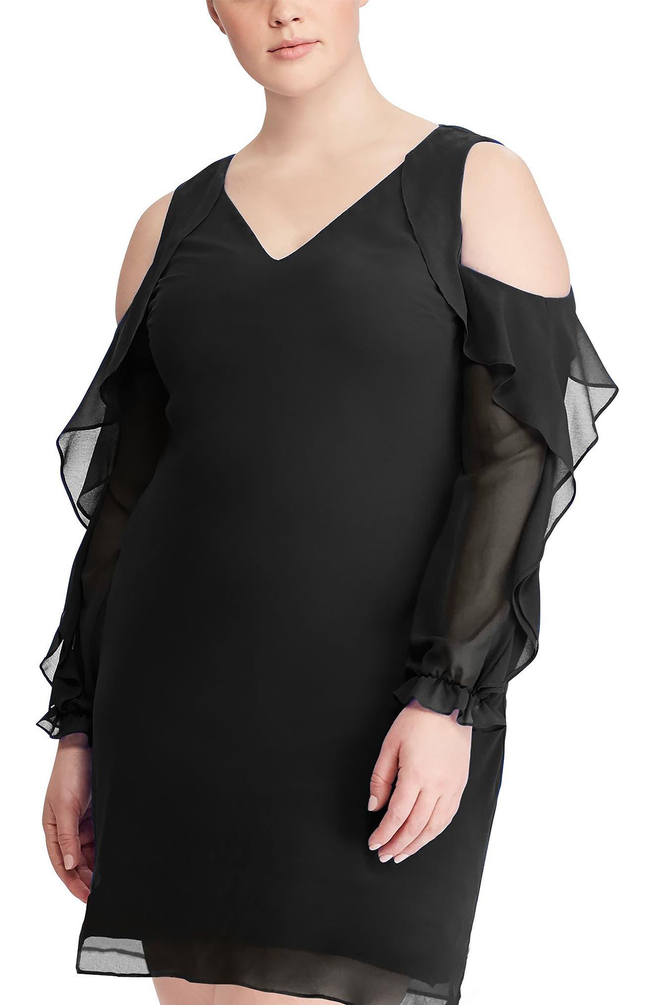Paiva Ruffle Cold Shoulder Georgette Dress,                             Alternate thumbnail 3, color,                             Black