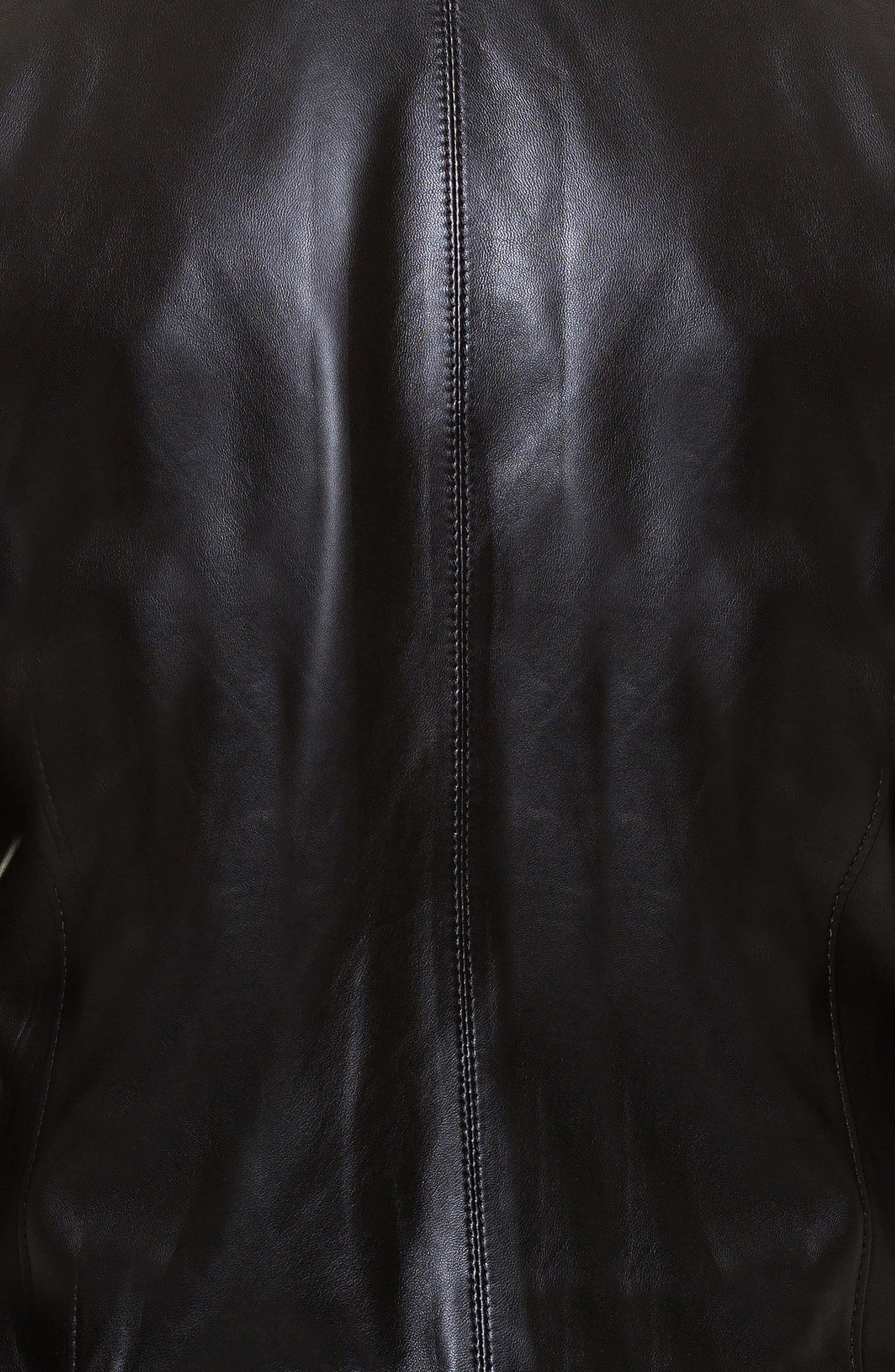 Tron Print Leather Jacket,                             Alternate thumbnail 4, color,                             Black