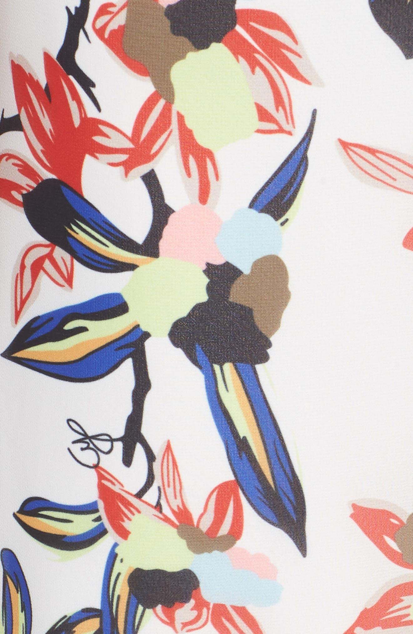 Floral Print Maxi Dress,                             Alternate thumbnail 6, color,                             White Multi