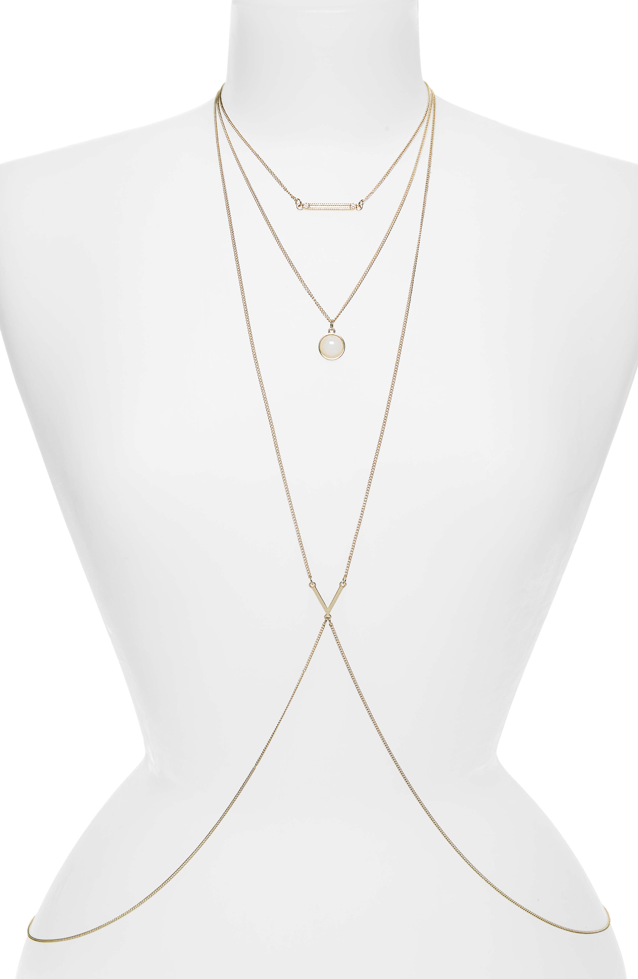 Layered Body Chain,                             Main thumbnail 1, color,                             Gold/ Stone