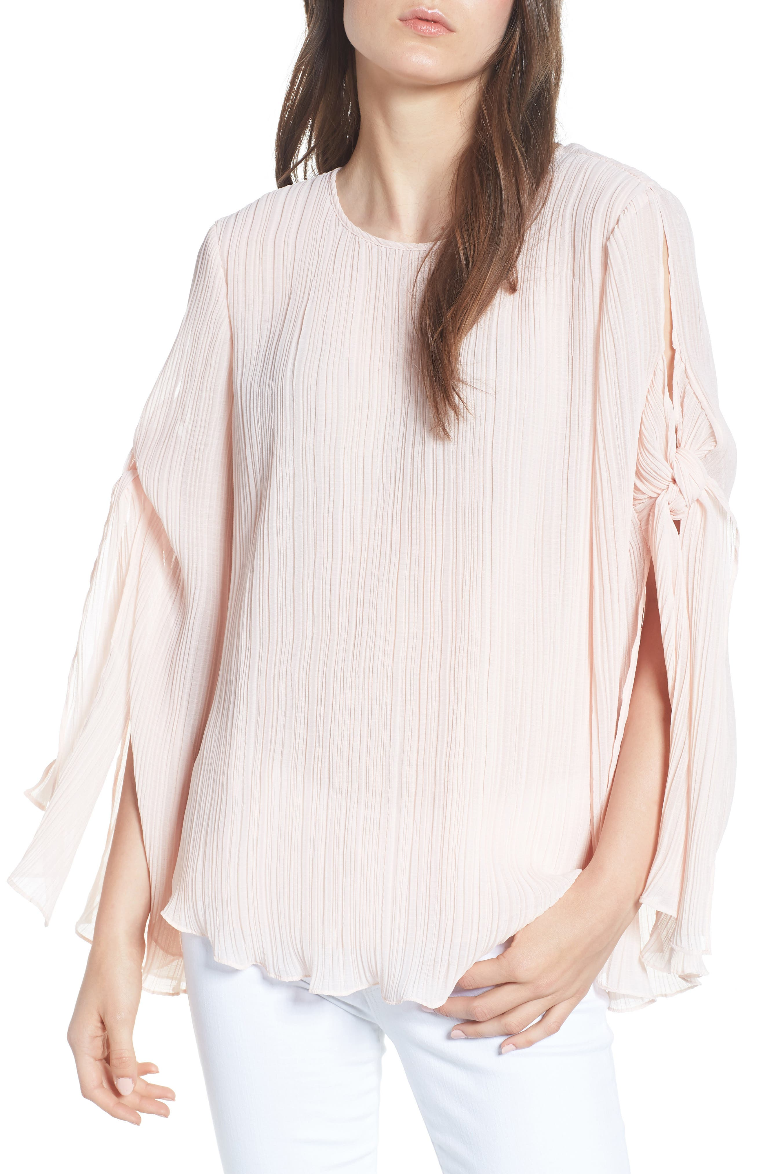 Pleated Tie Sleeve Top,                             Main thumbnail 1, color,                             Pink Blush