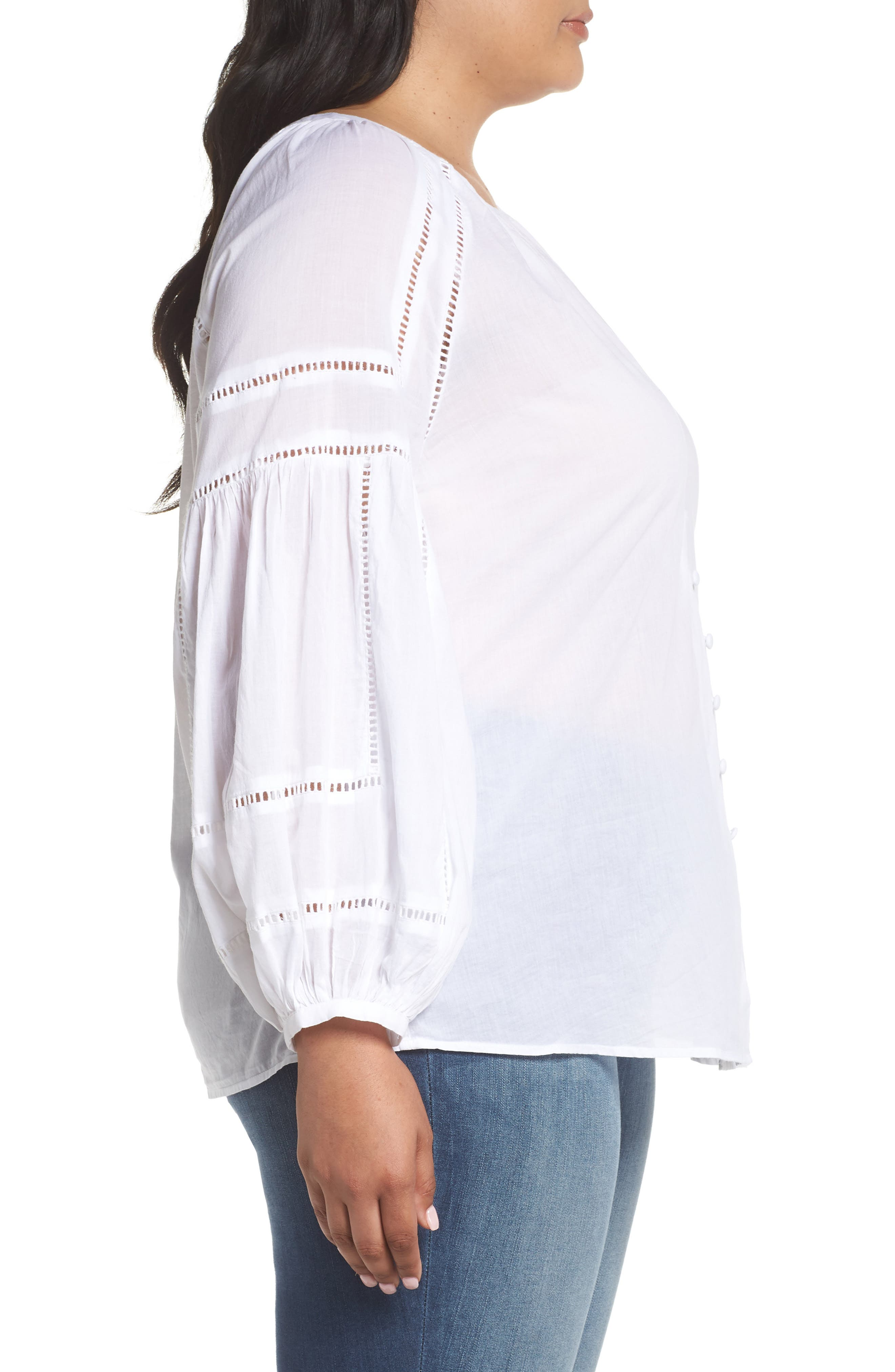 Embroidered Peasant Sleeve Top,                             Alternate thumbnail 3, color,                             White