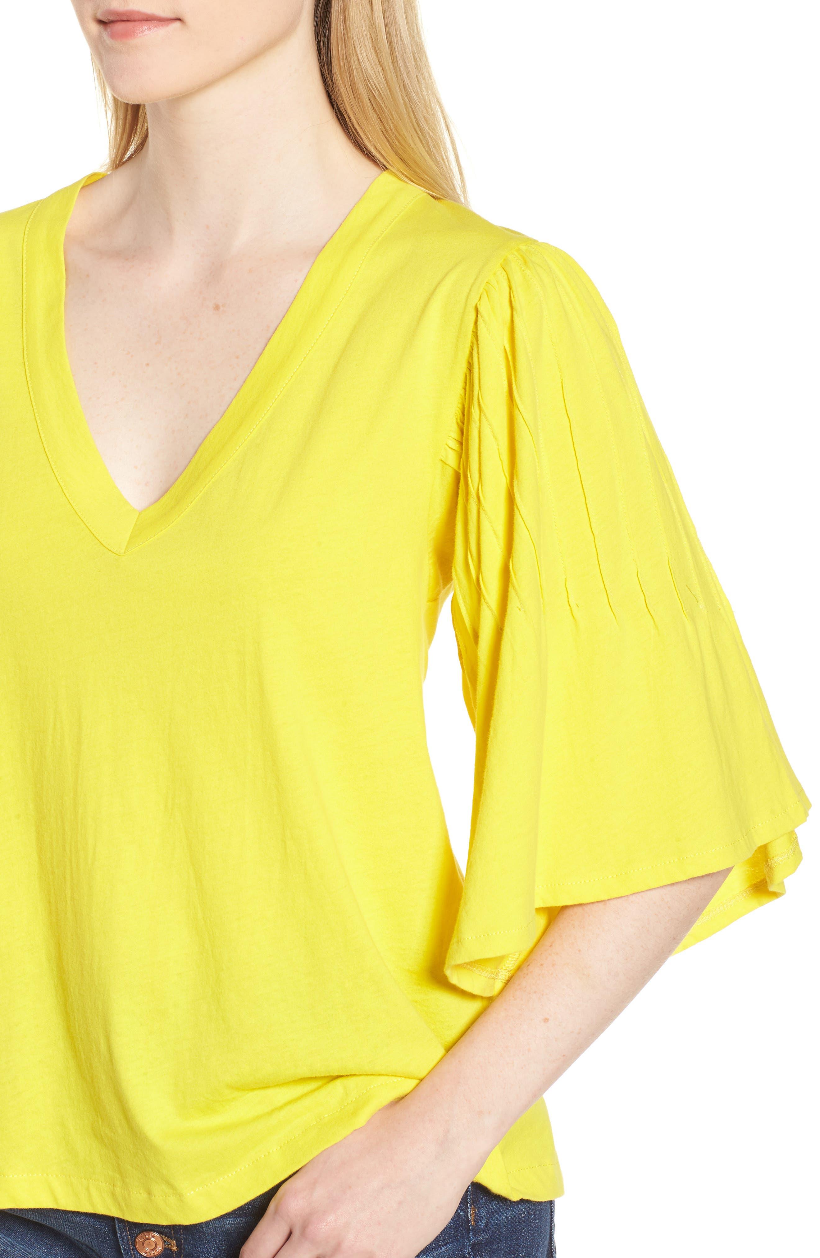 Pintuck Sleeve Cotton Blouse,                             Alternate thumbnail 4, color,                             Vivid Canary