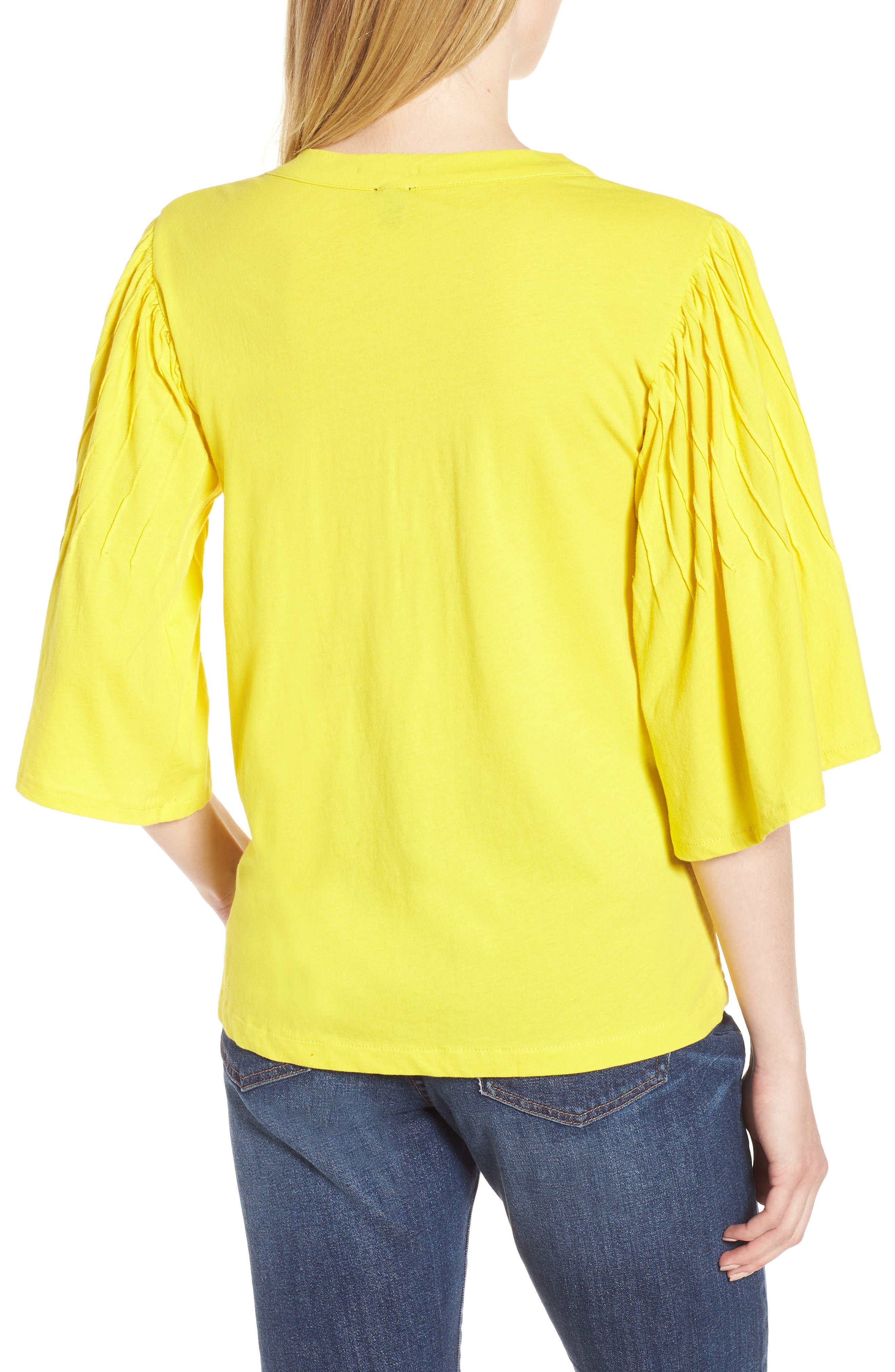 Pintuck Sleeve Cotton Blouse,                             Alternate thumbnail 2, color,                             Vivid Canary