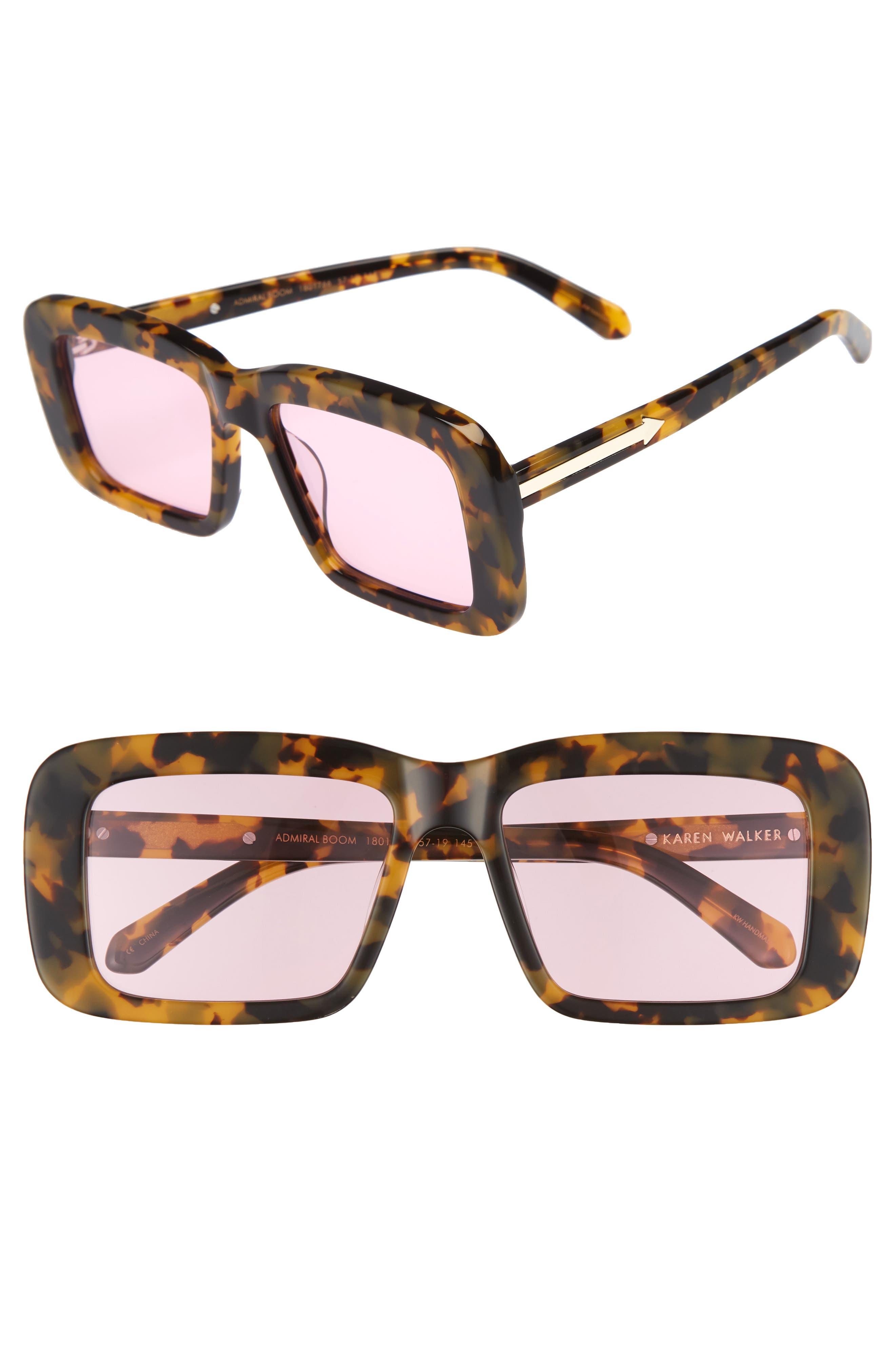 Admiral Boom 57mm Square Sunglasses,                             Main thumbnail 1, color,                             Crazy Tortoise