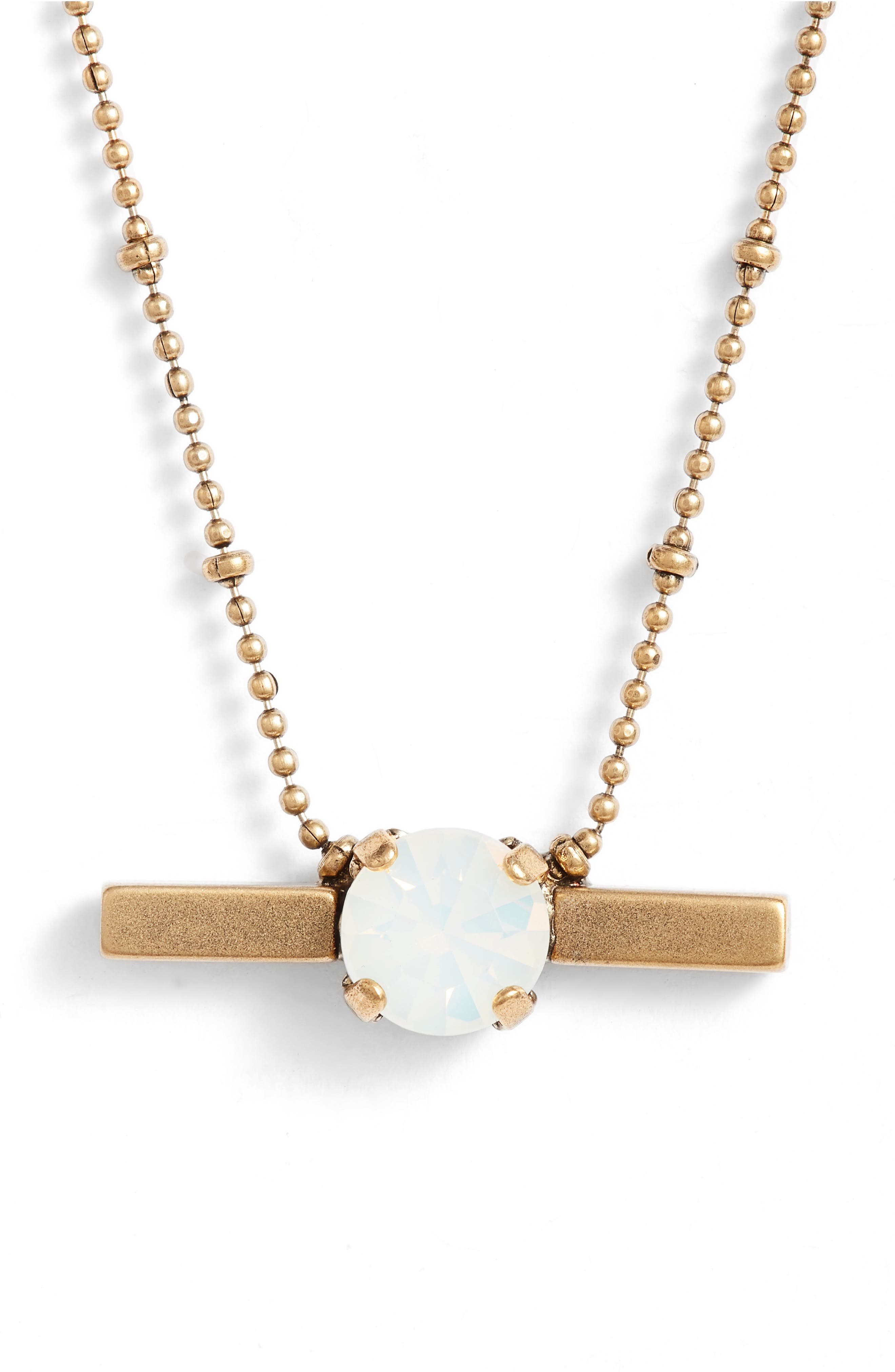 Nora Crystal Bar Necklace,                         Main,                         color, White Opal/ Gold