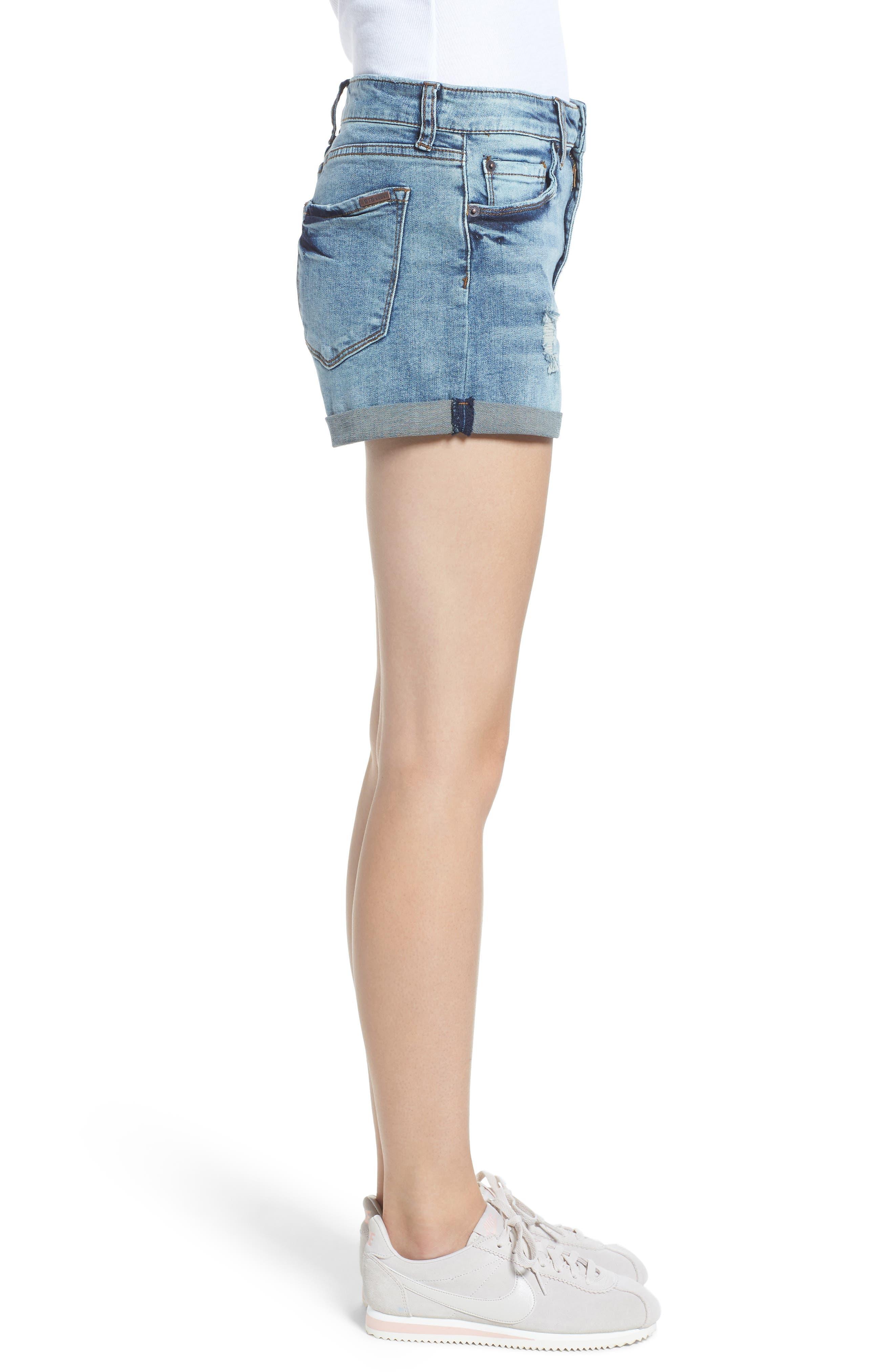 STS Blue Distressed High Waist Denim Shorts,                             Alternate thumbnail 3, color,                             Rivindel W/ Lt Base