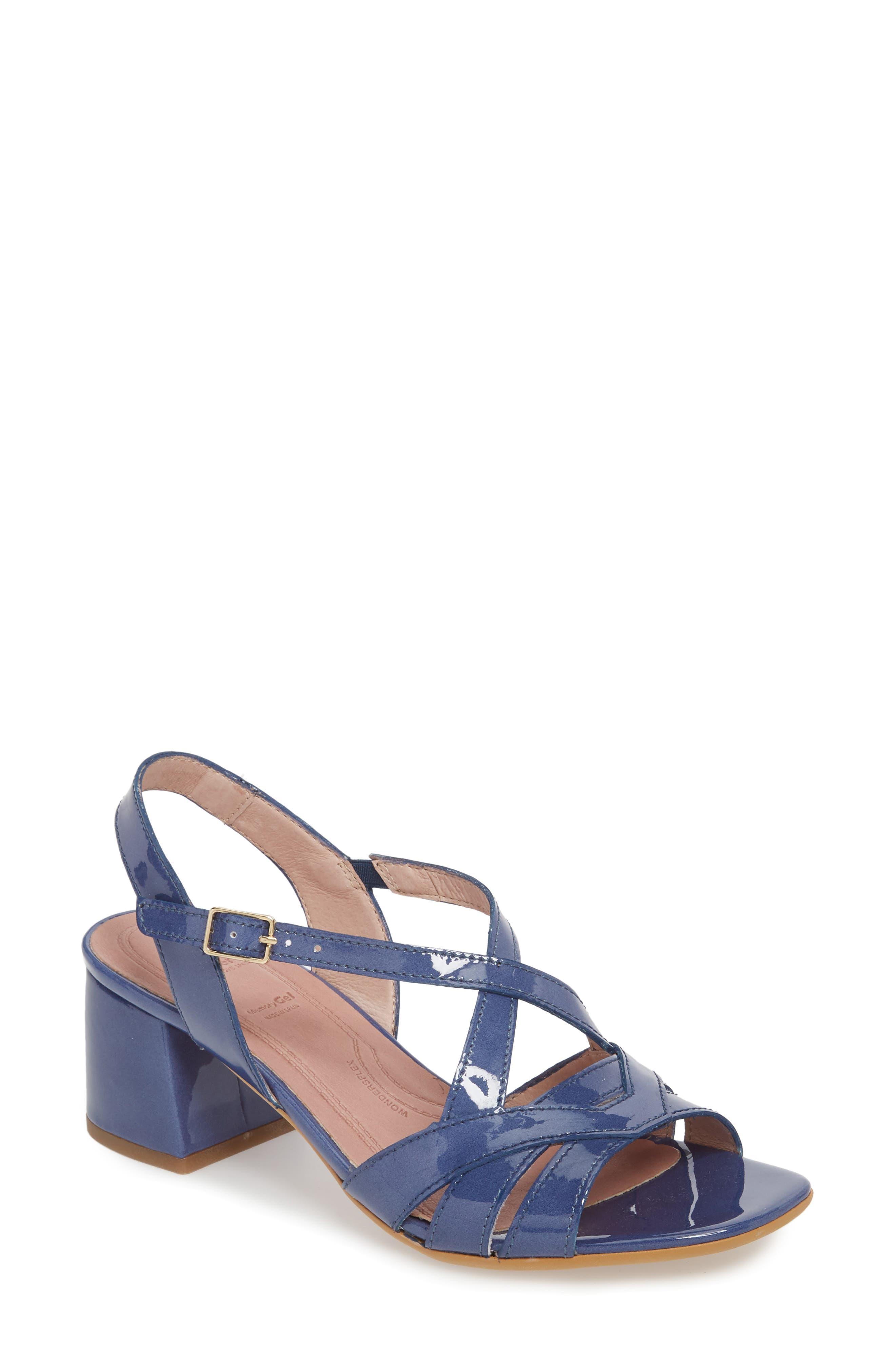 Block Heel Sandal,                             Main thumbnail 1, color,                             Jean Patent Leather