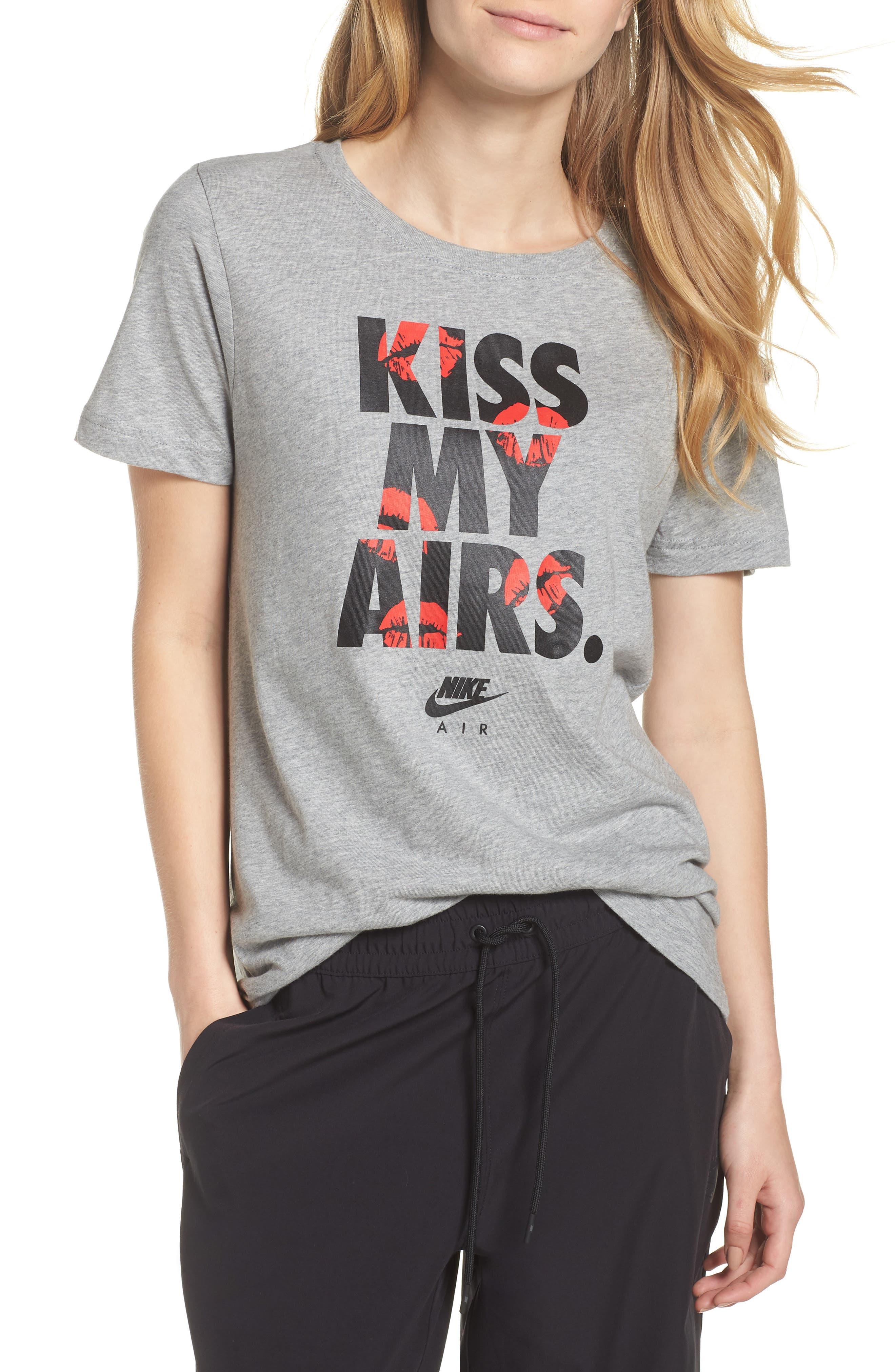 Sportswear Kiss My Airs Tee,                             Main thumbnail 1, color,                             Dark Grey Heather/ Wolf Grey