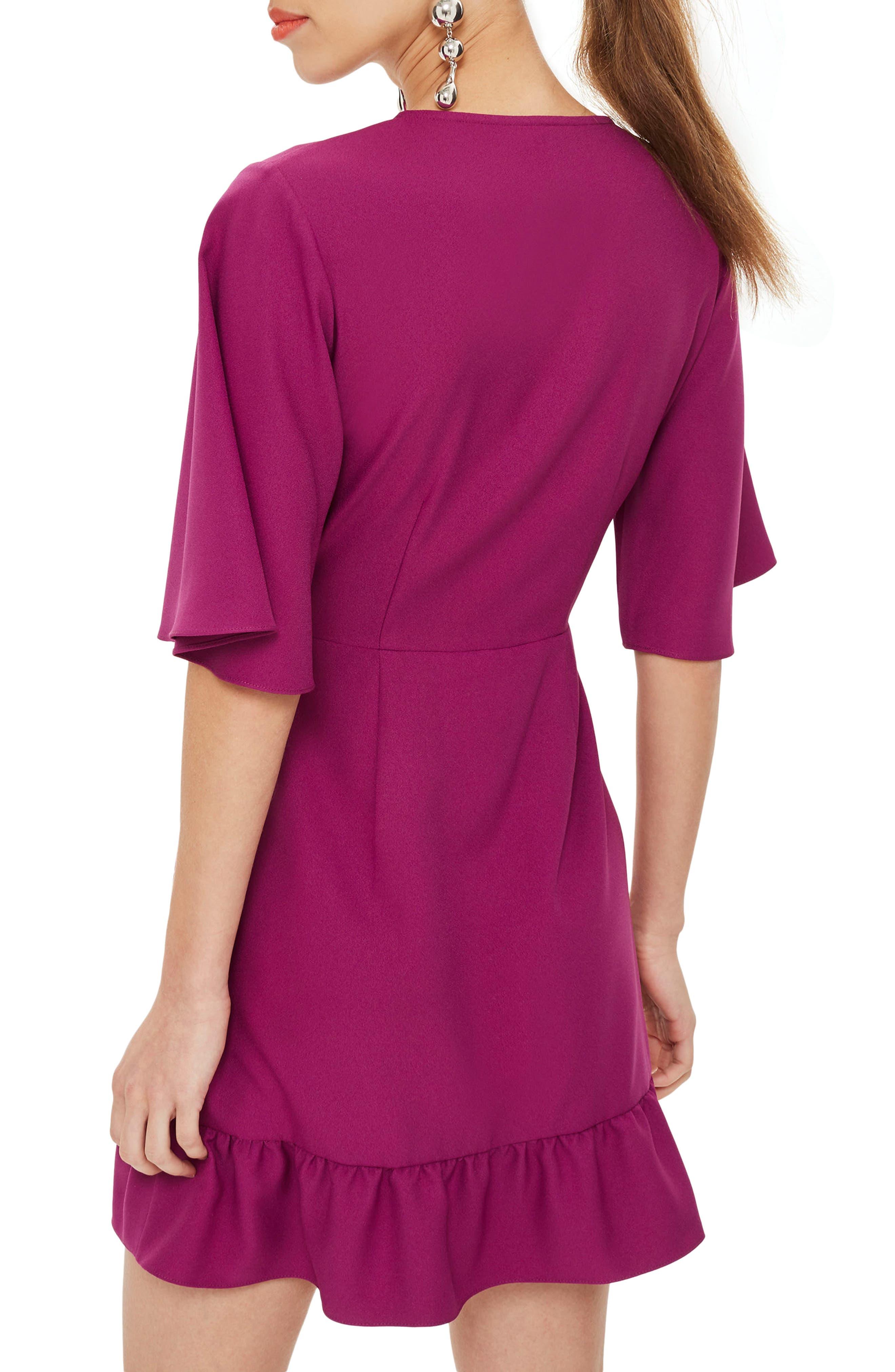 Ruffle Minidress,                             Alternate thumbnail 2, color,                             Bright Pink