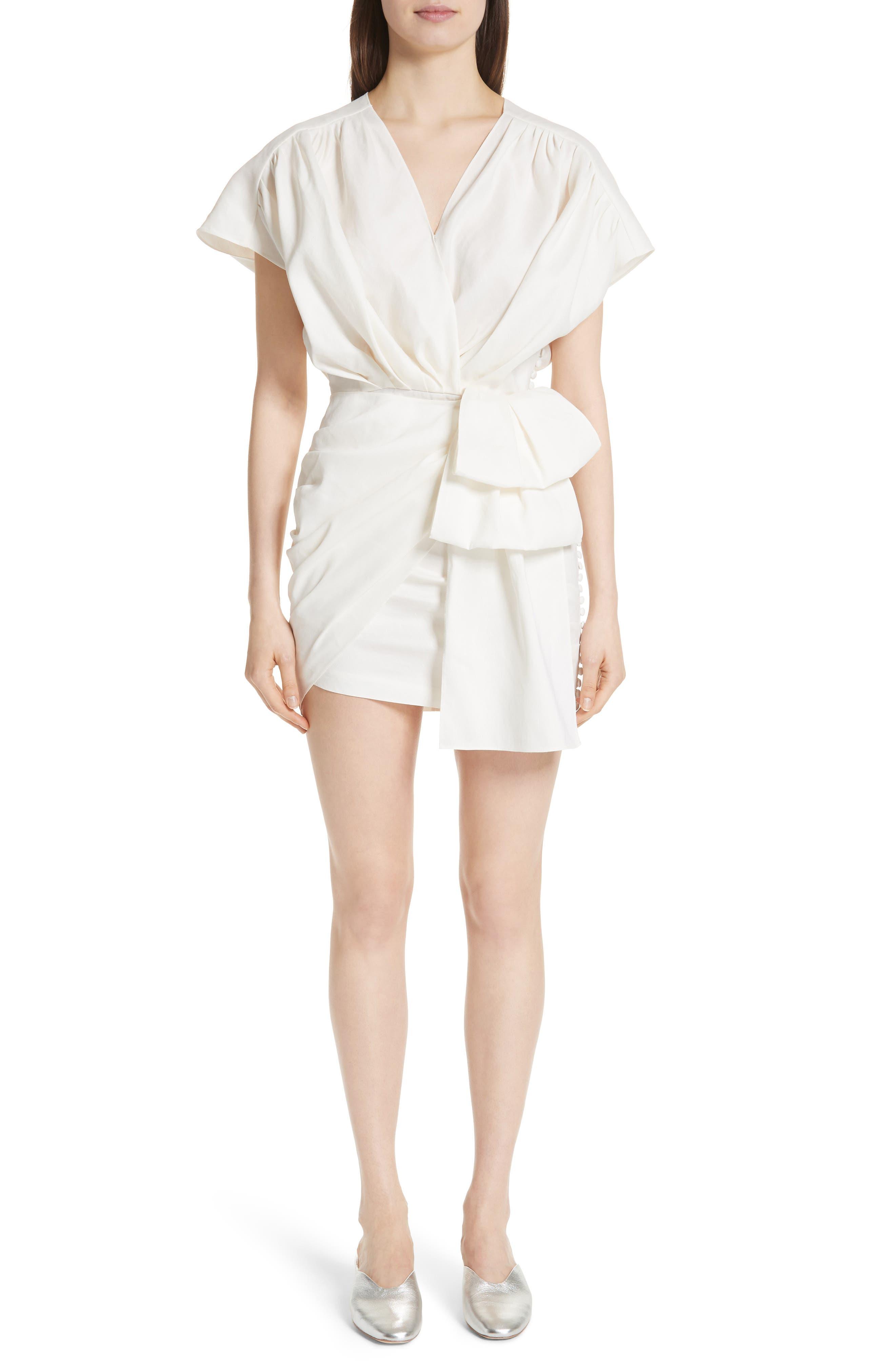 Gathered Linen Blend Dress,                         Main,                         color, White
