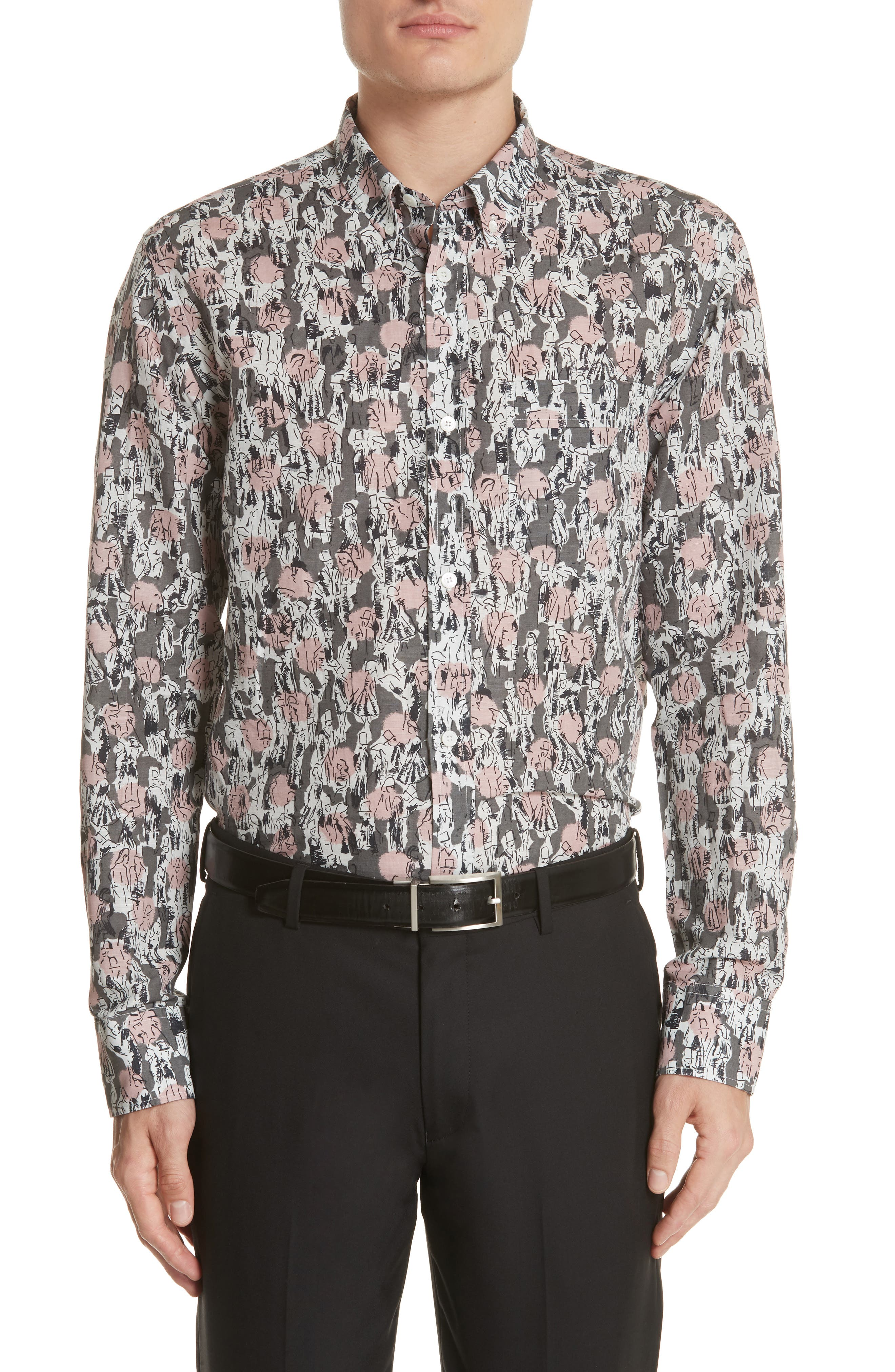Strenton Print Shirt,                         Main,                         color, Mid Grey