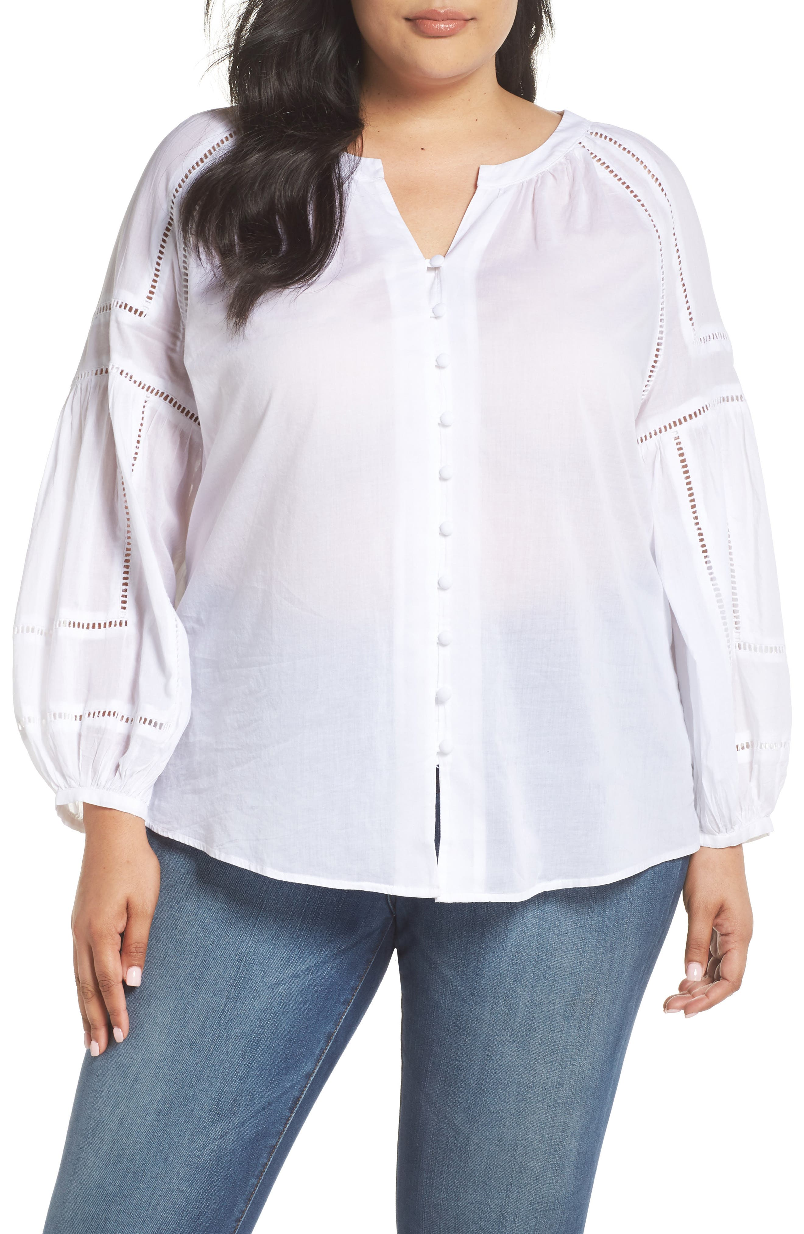 Caslon® Embroidered Peasant Sleeve Top (Plus Size)
