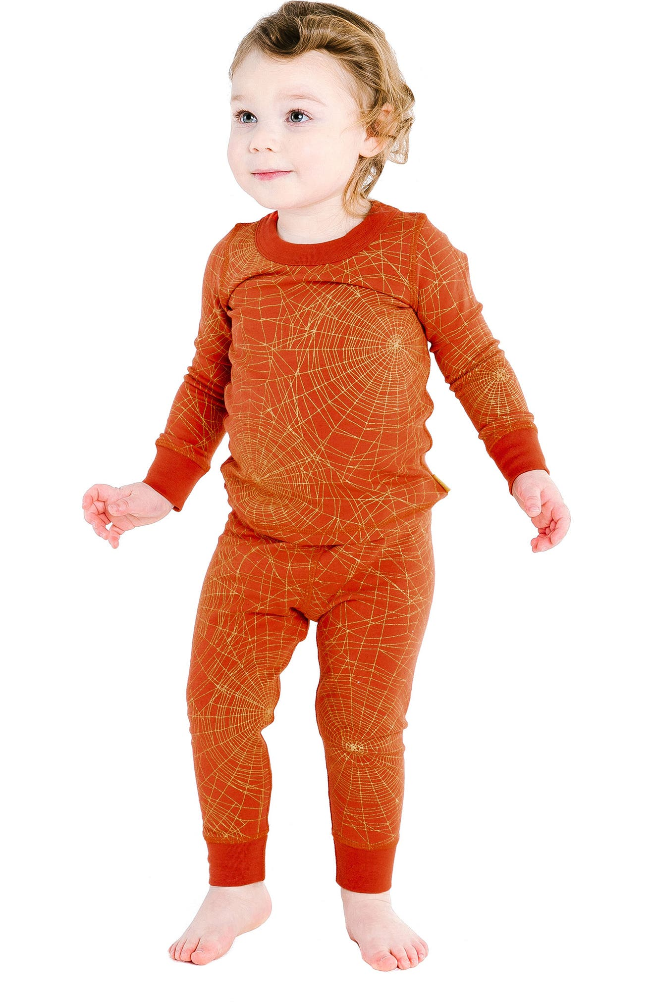 Golden Web Organic Cotton Fitted Two-Piece Pajamas,                             Alternate thumbnail 2, color,
