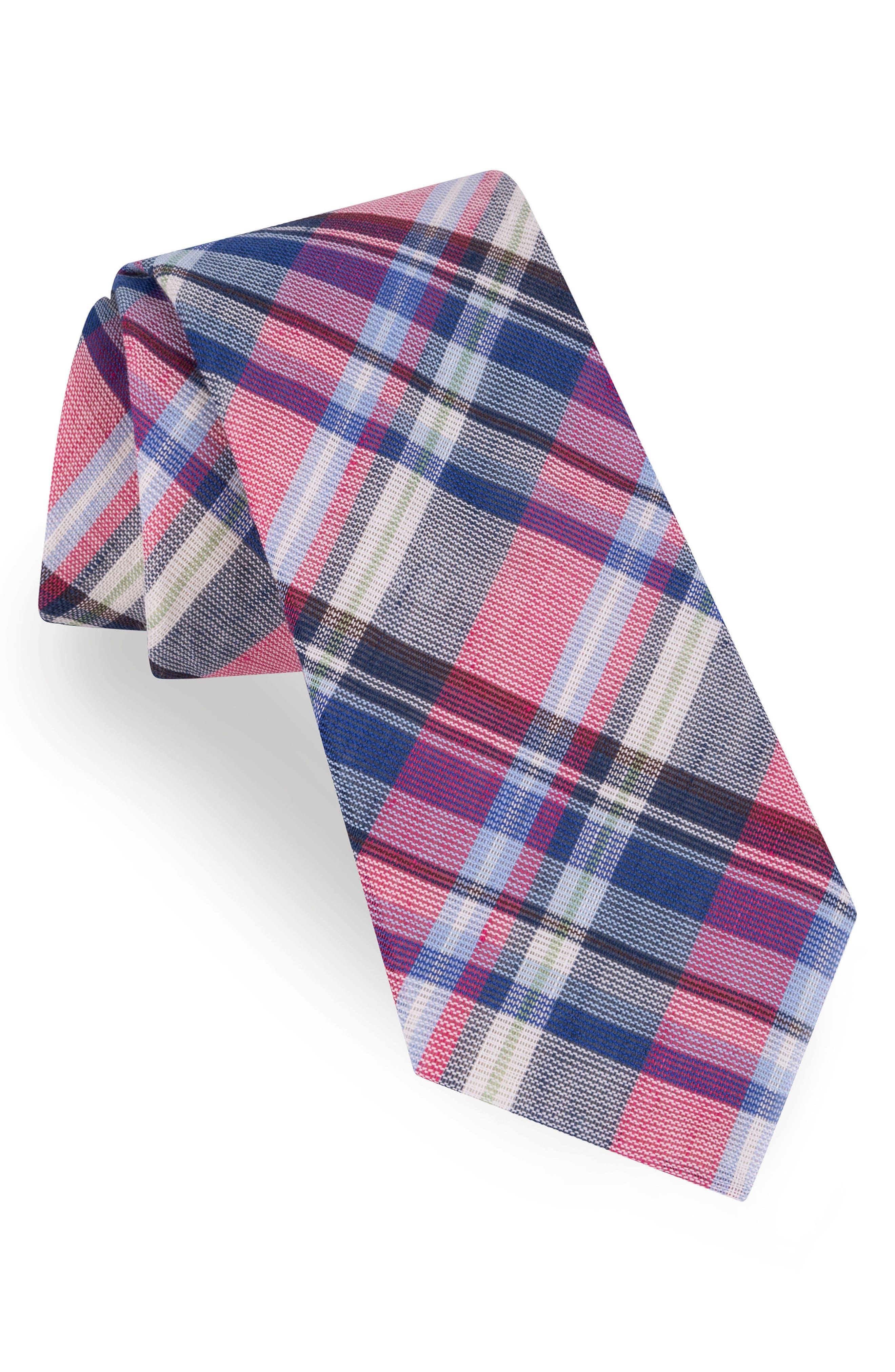 Plaid Cotton & Linen Tie,                             Main thumbnail 1, color,                             Pink