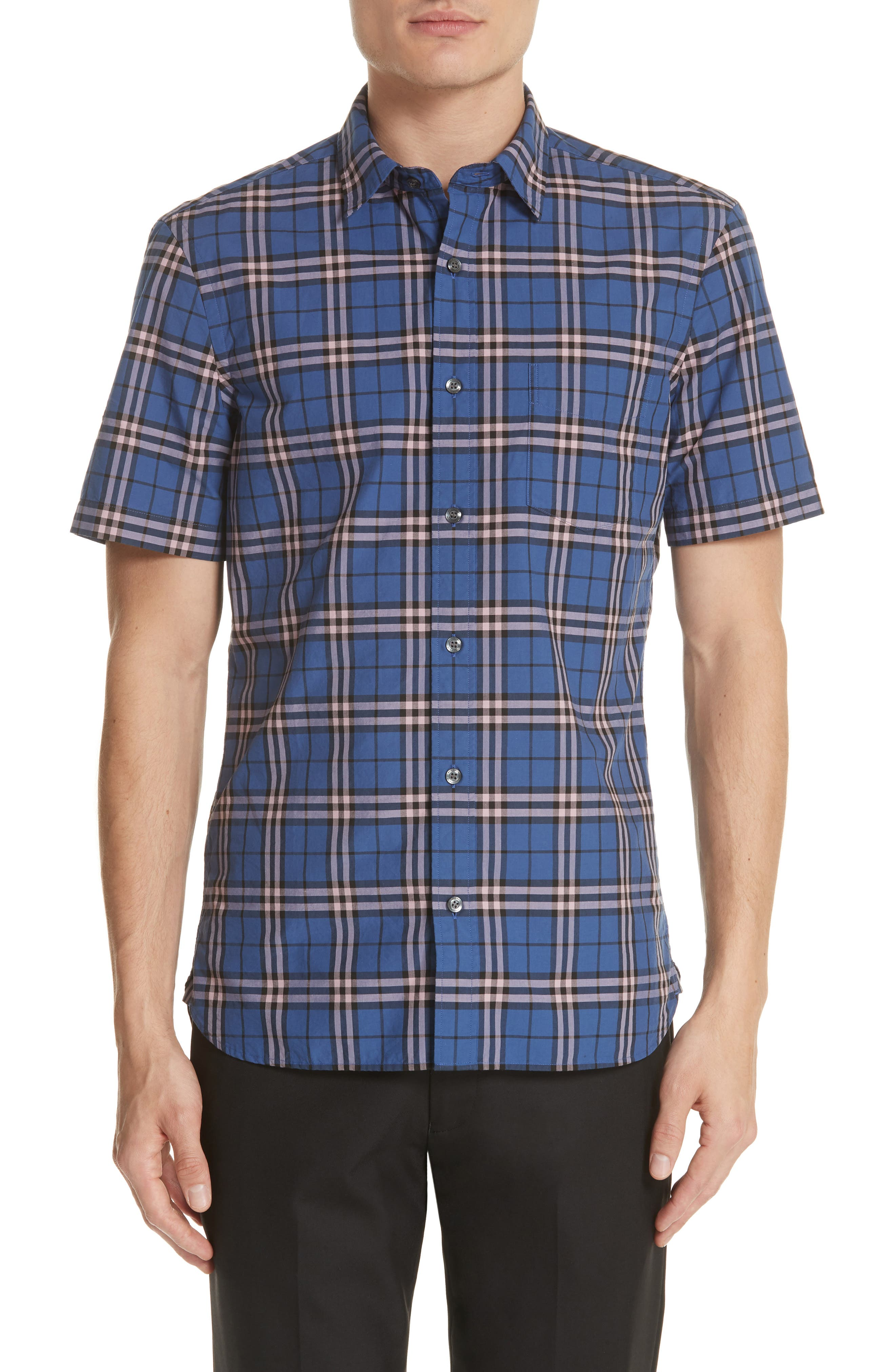 Alexander Check Shirt,                         Main,                         color, Steel Blue