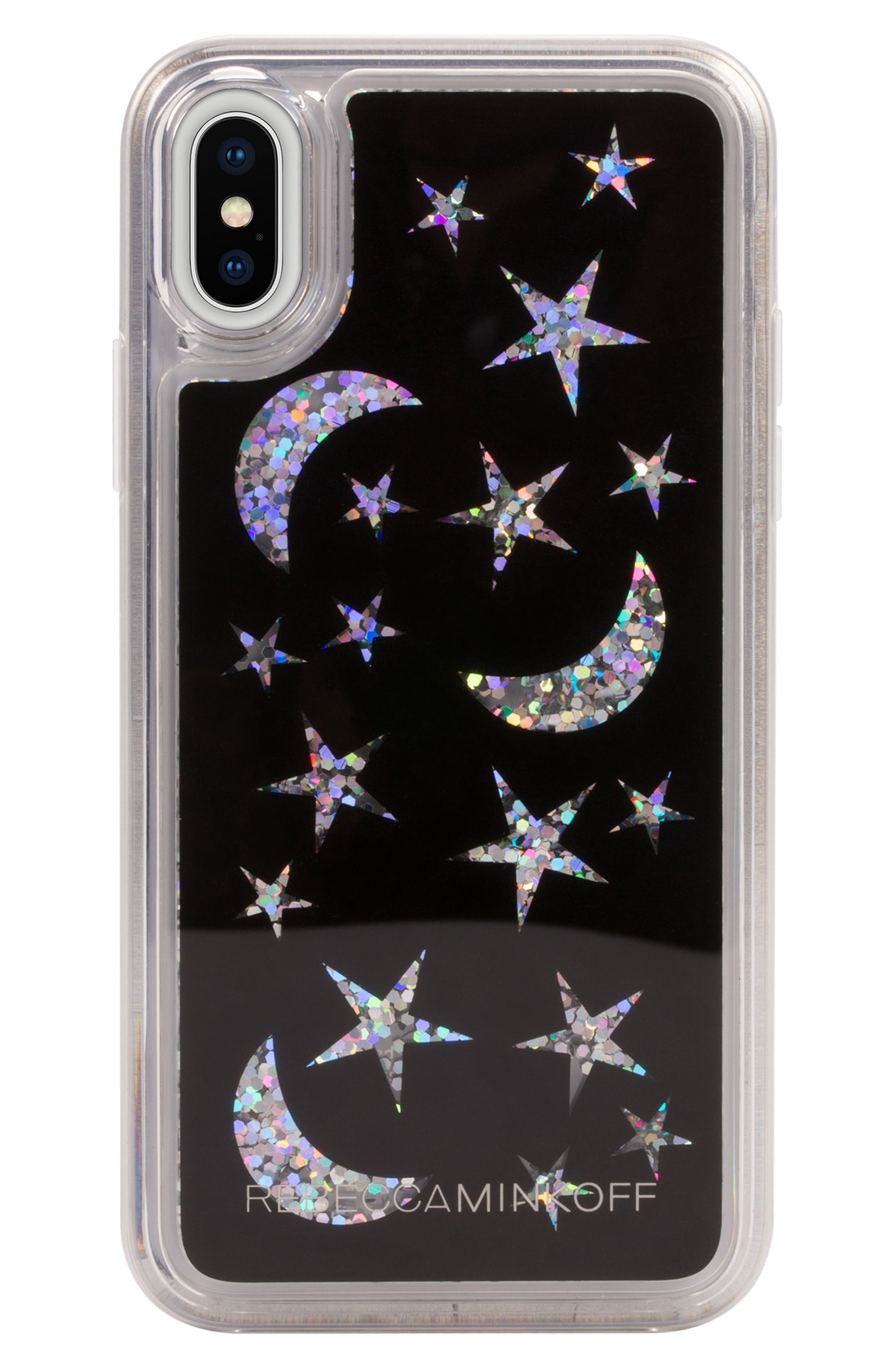 See Through Me Glitter Galaxy iPhone X Case,                             Main thumbnail 1, color,                             Holographic/ Black