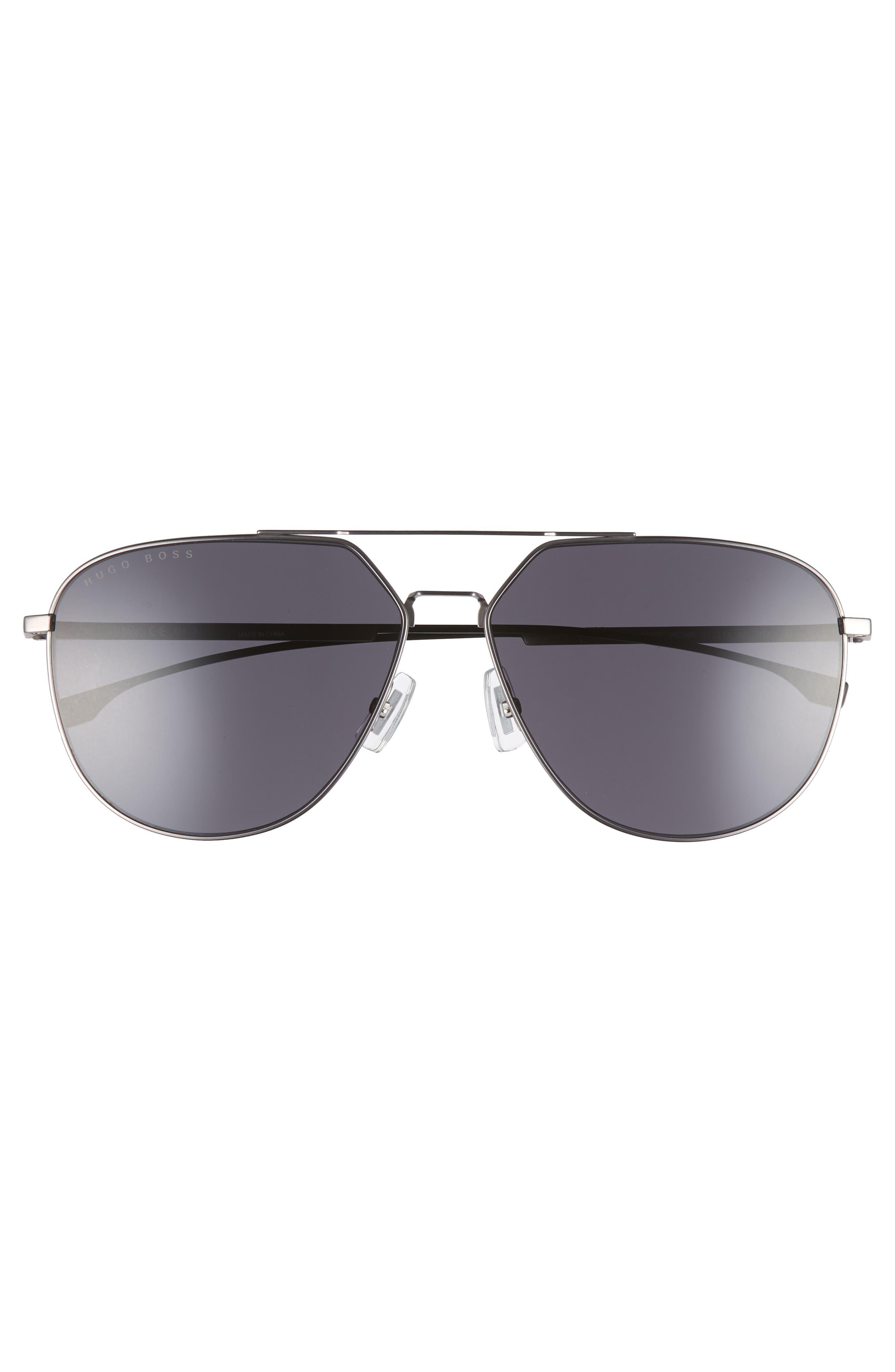 63mm Polarized Aviator Sunglasses,                             Alternate thumbnail 2, color,                             Matte Grey
