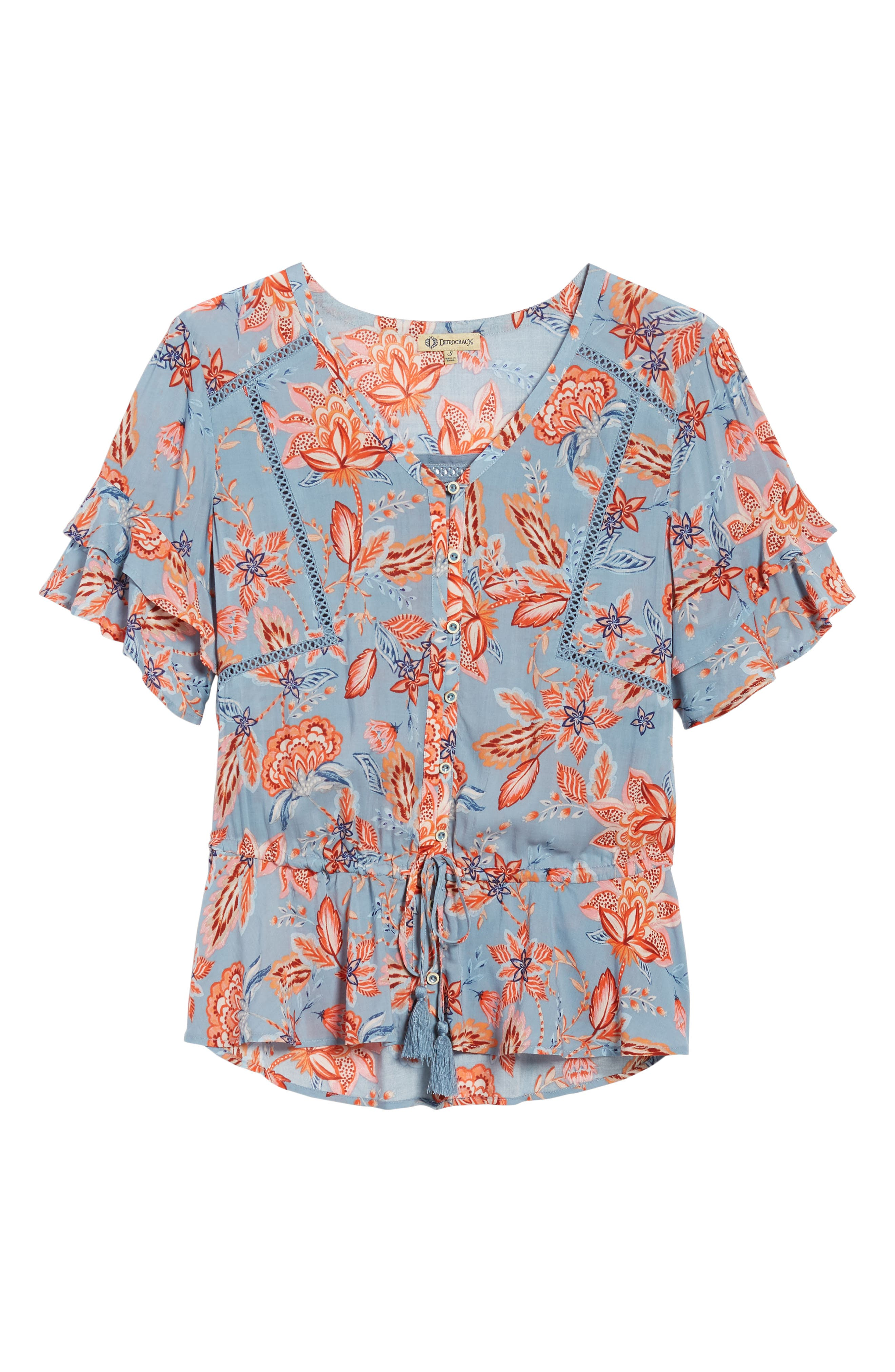 Alternate Image 6  - Wit & Wisdom Double Flounce Floral Top (Nordstrom Exclusive)