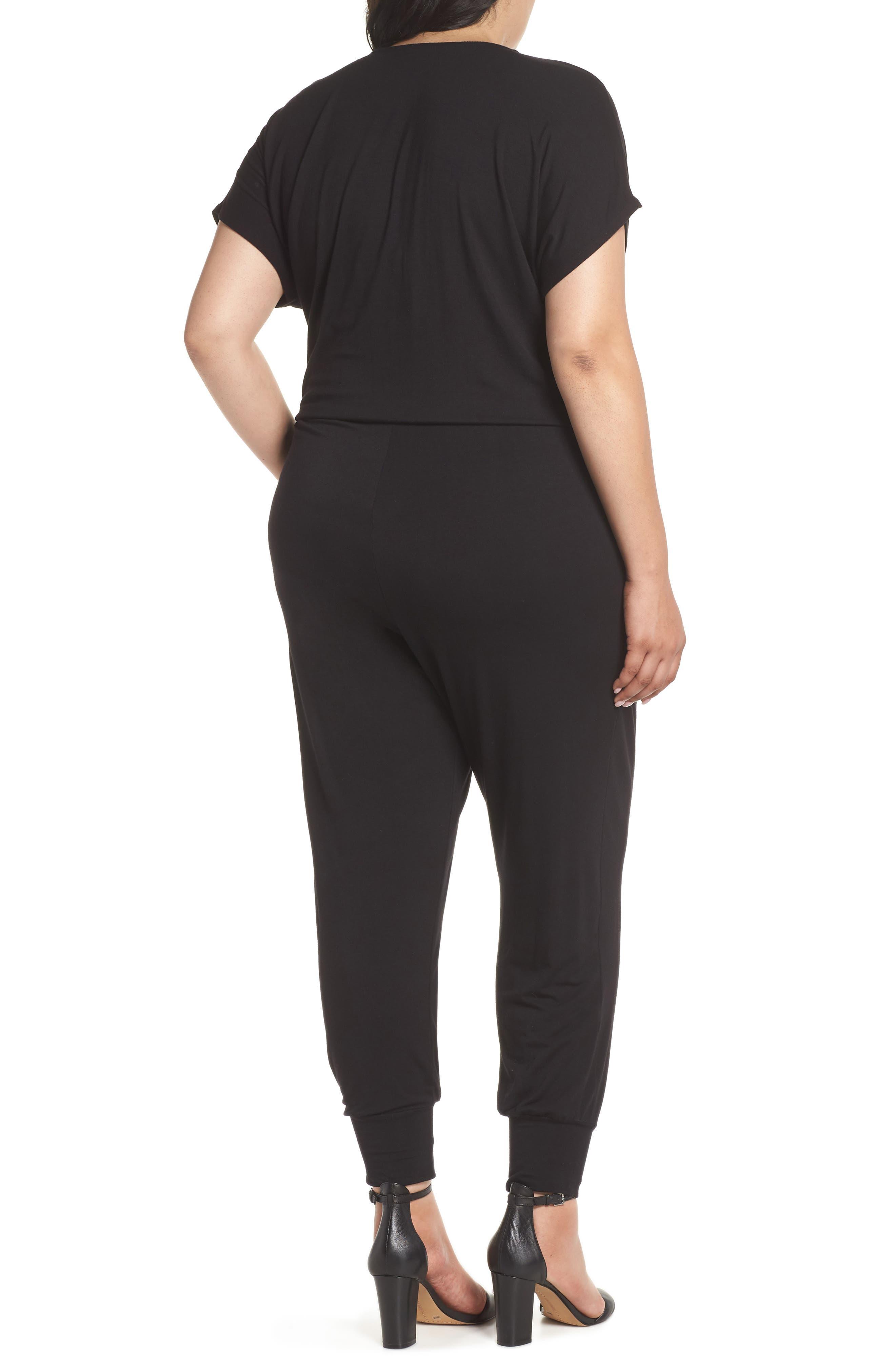 Short Sleeve Wrap Top Jumpsuit,                             Alternate thumbnail 2, color,                             Black