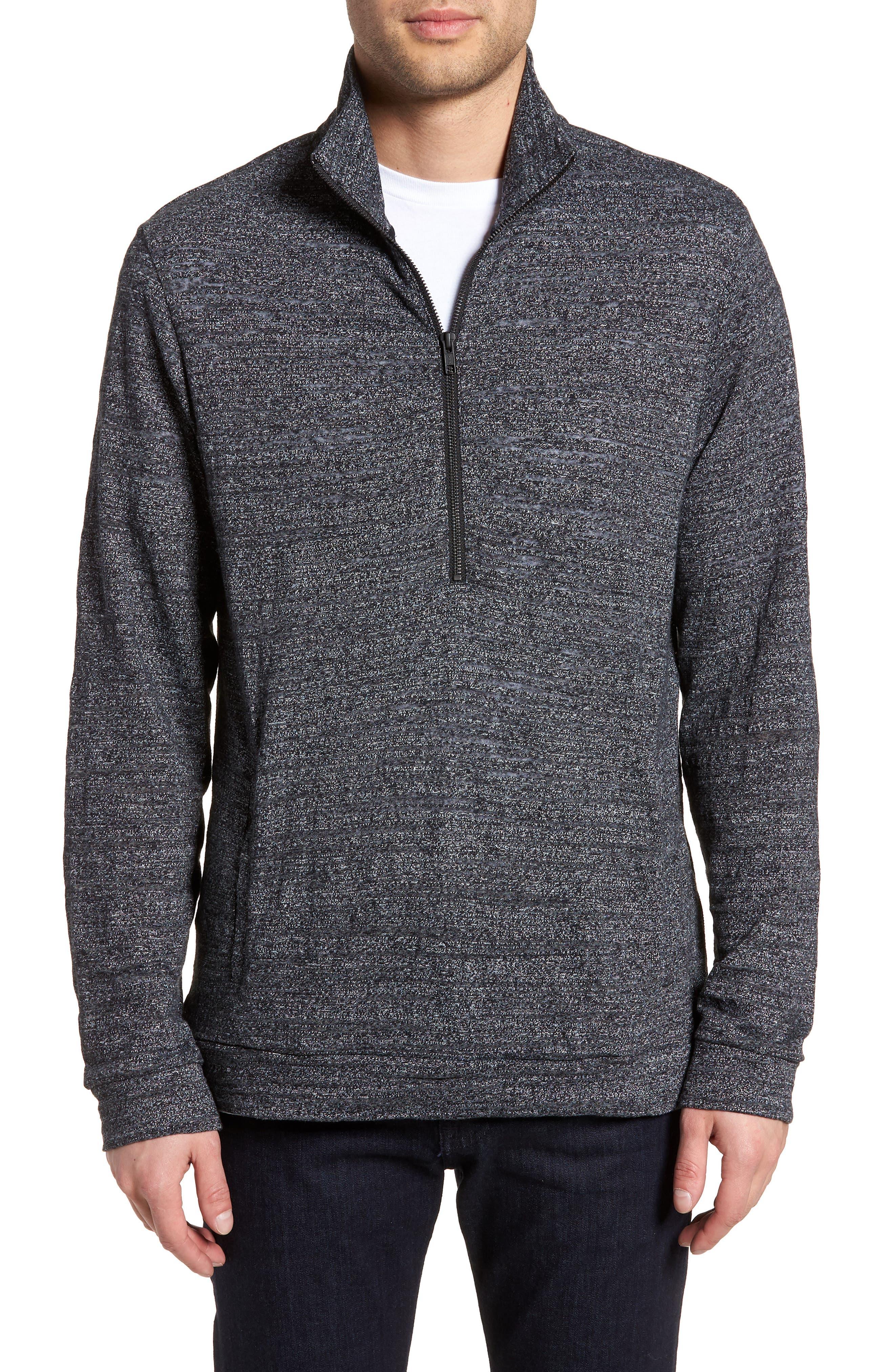 Textured Zip Fleece Sweatshirt,                         Main,                         color, Black Melange