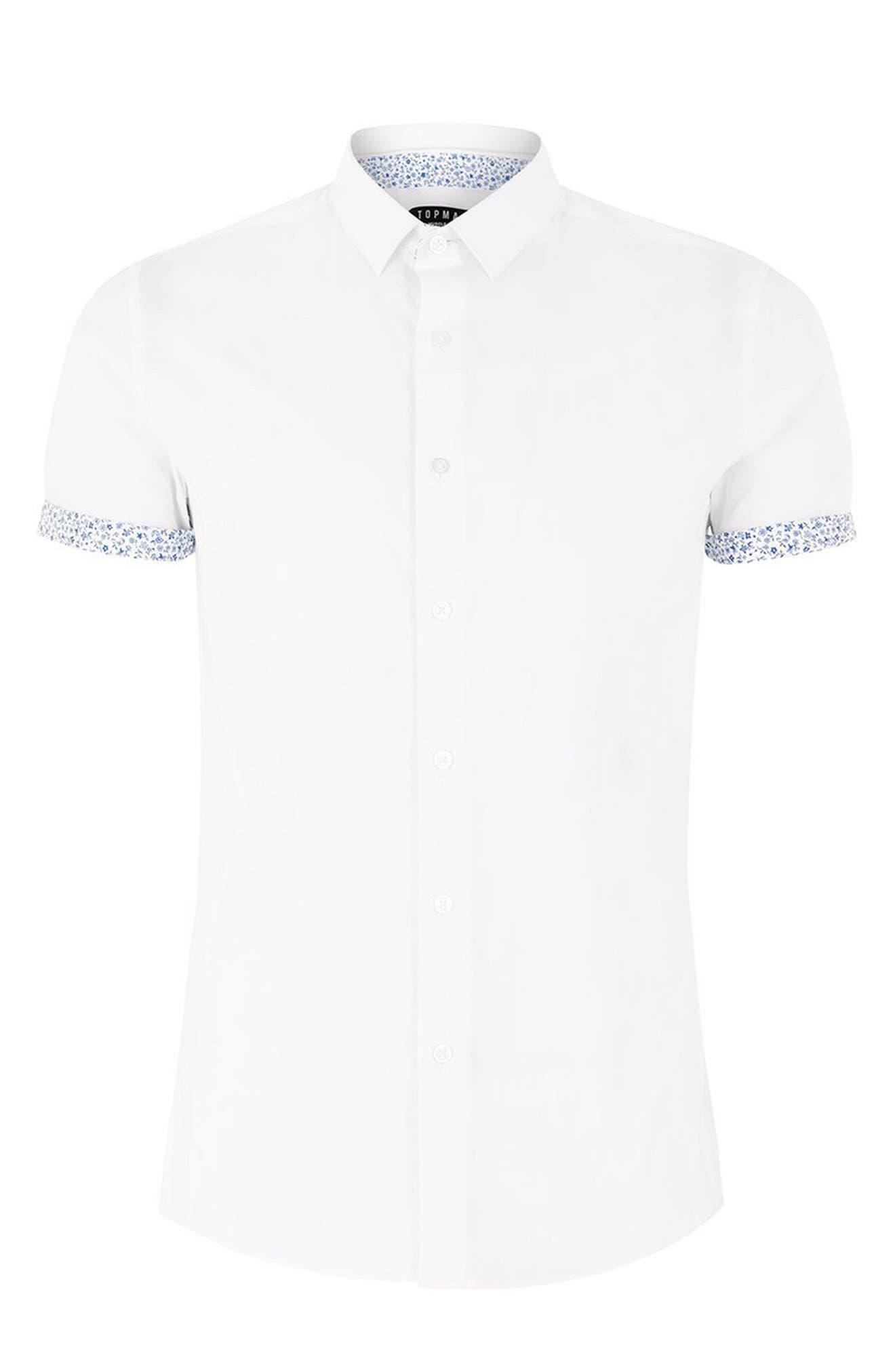 Muscle Fit Floral Trim Shirt,                             Alternate thumbnail 4, color,                             White Multi