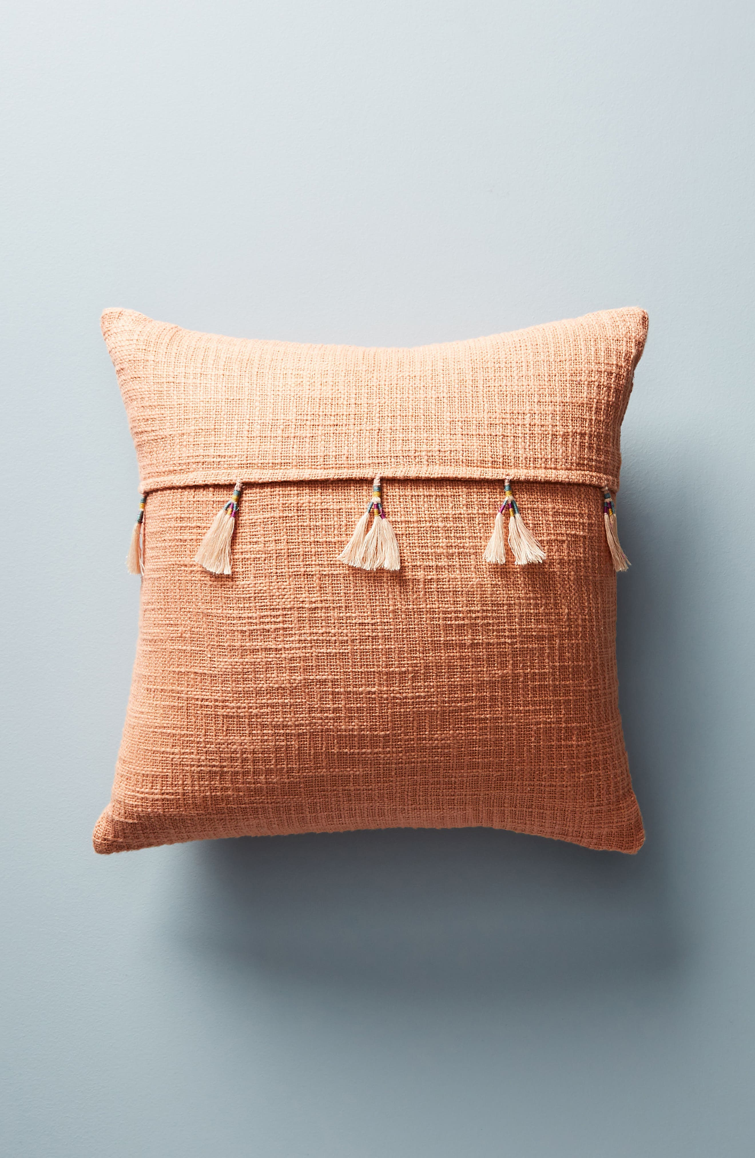 Varied Tassel Accent Pillow,                             Main thumbnail 1, color,                             Coral