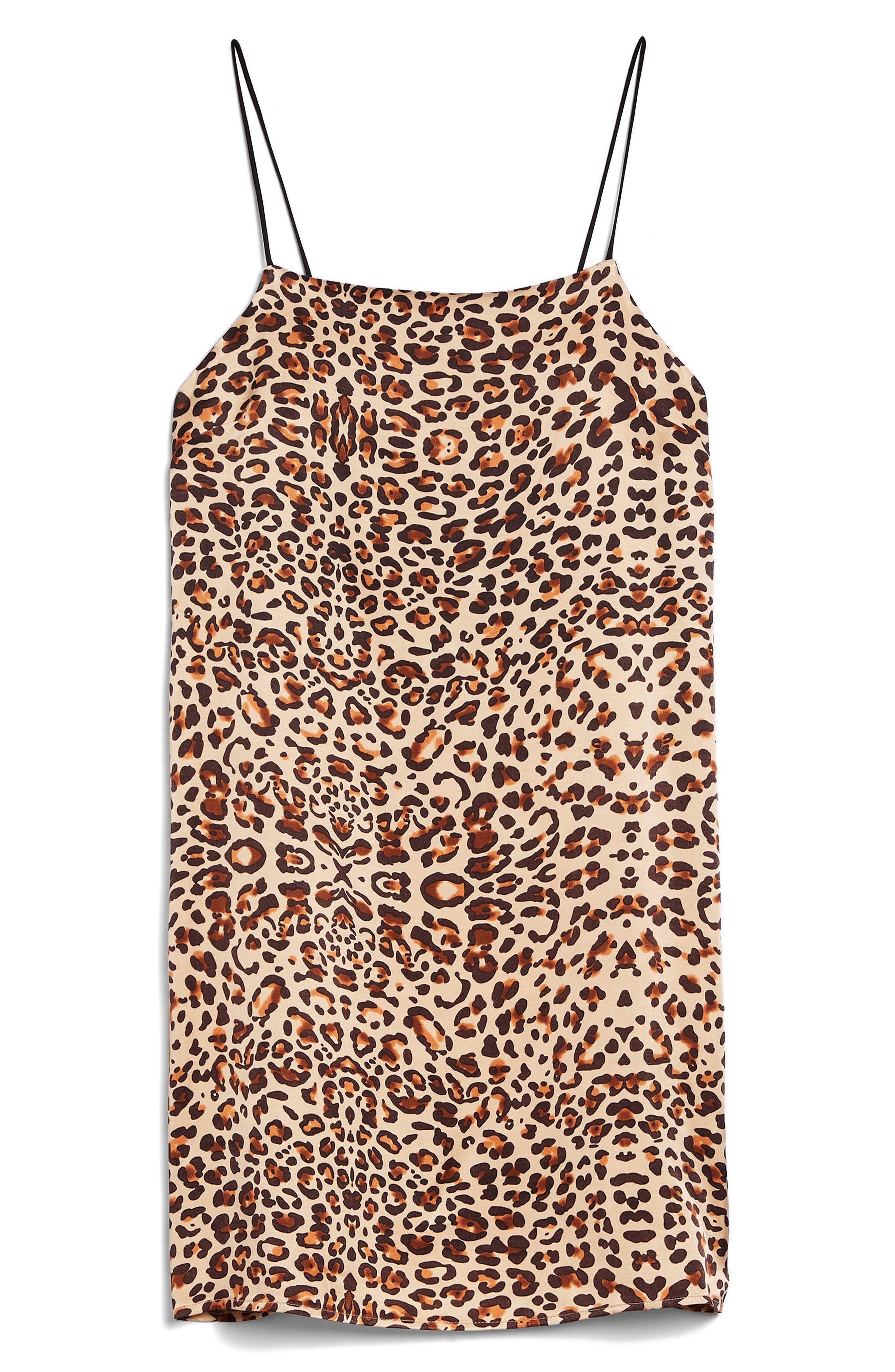 Leopard Mini Slipdress,                             Alternate thumbnail 5, color,                             Brown Multi