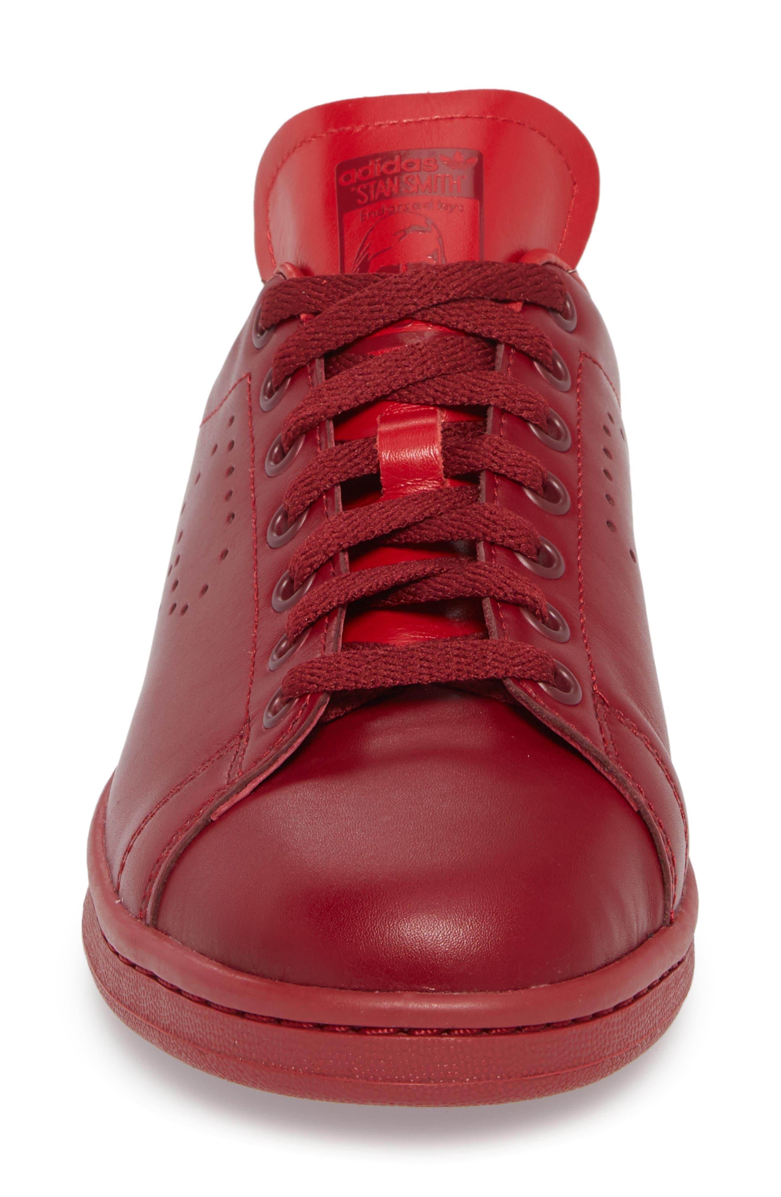 Stan Smith Sneaker,                             Alternate thumbnail 4, color,                             Burgundy/ Power Red/ Burgundy