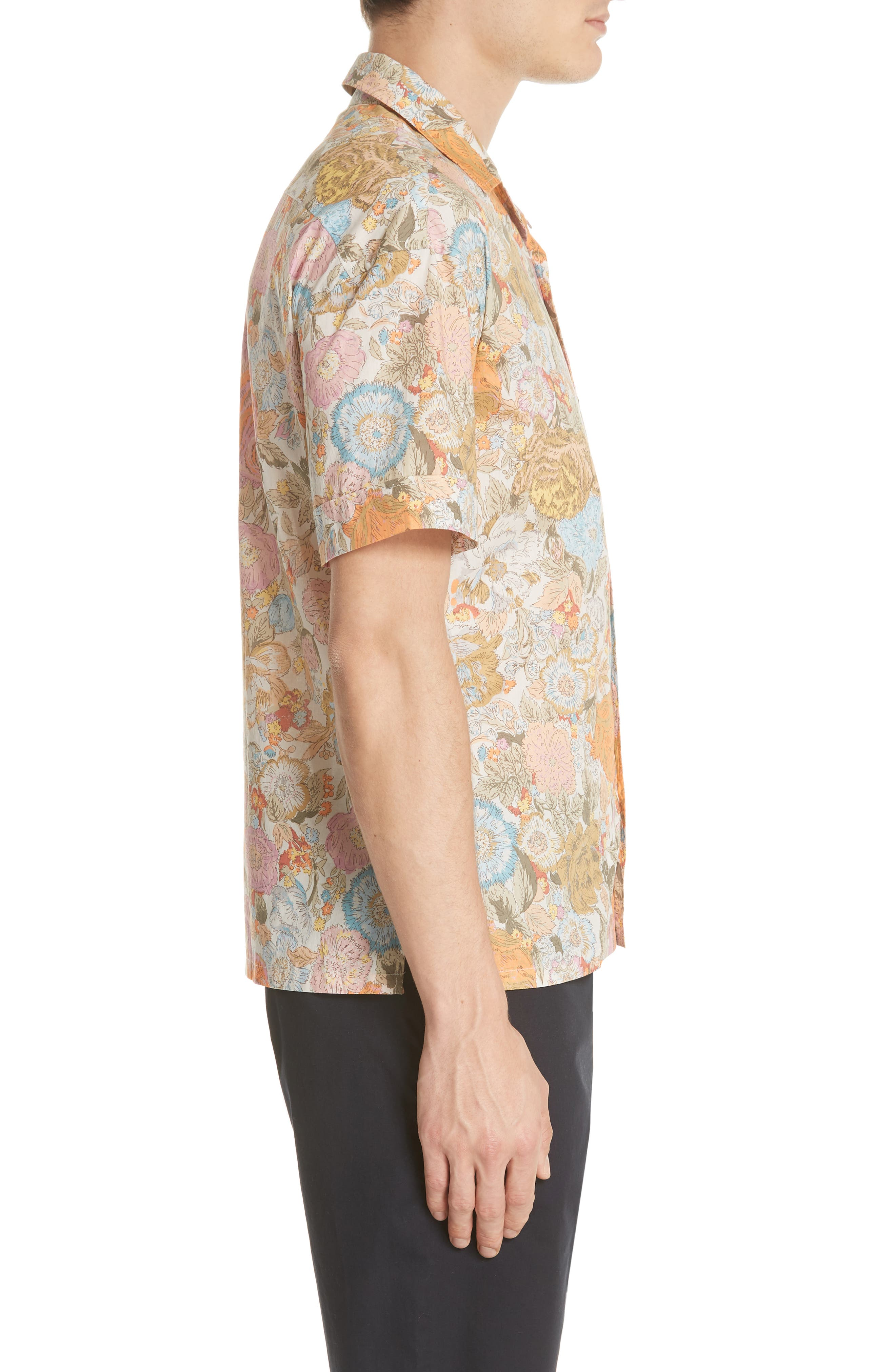 Harley Floral Print Shirt,                             Alternate thumbnail 4, color,                             Bright Orange