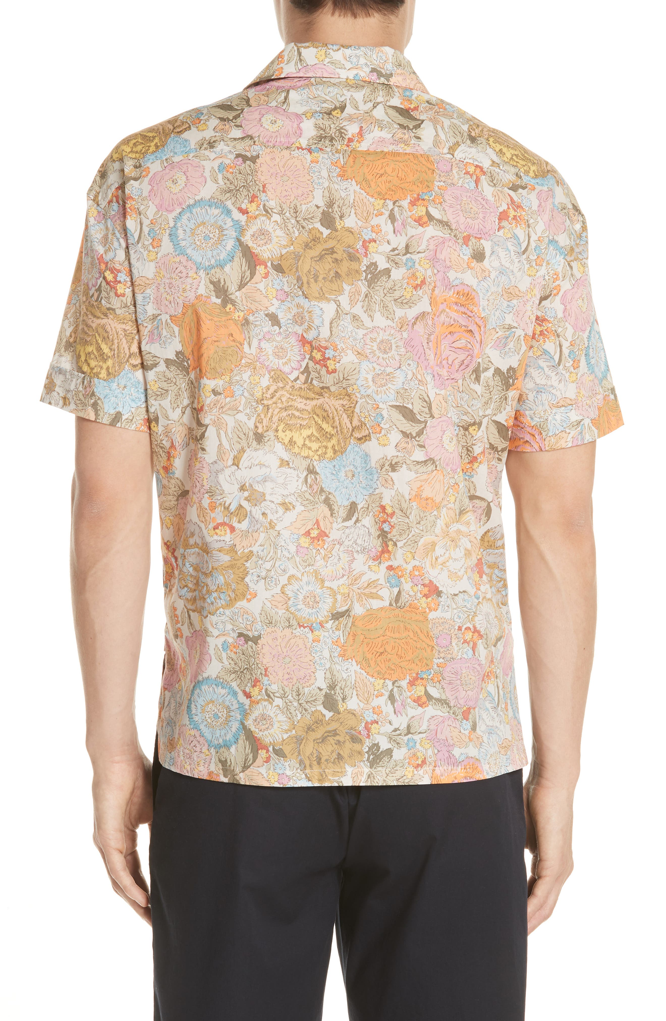 Harley Floral Print Shirt,                             Alternate thumbnail 3, color,                             Bright Orange